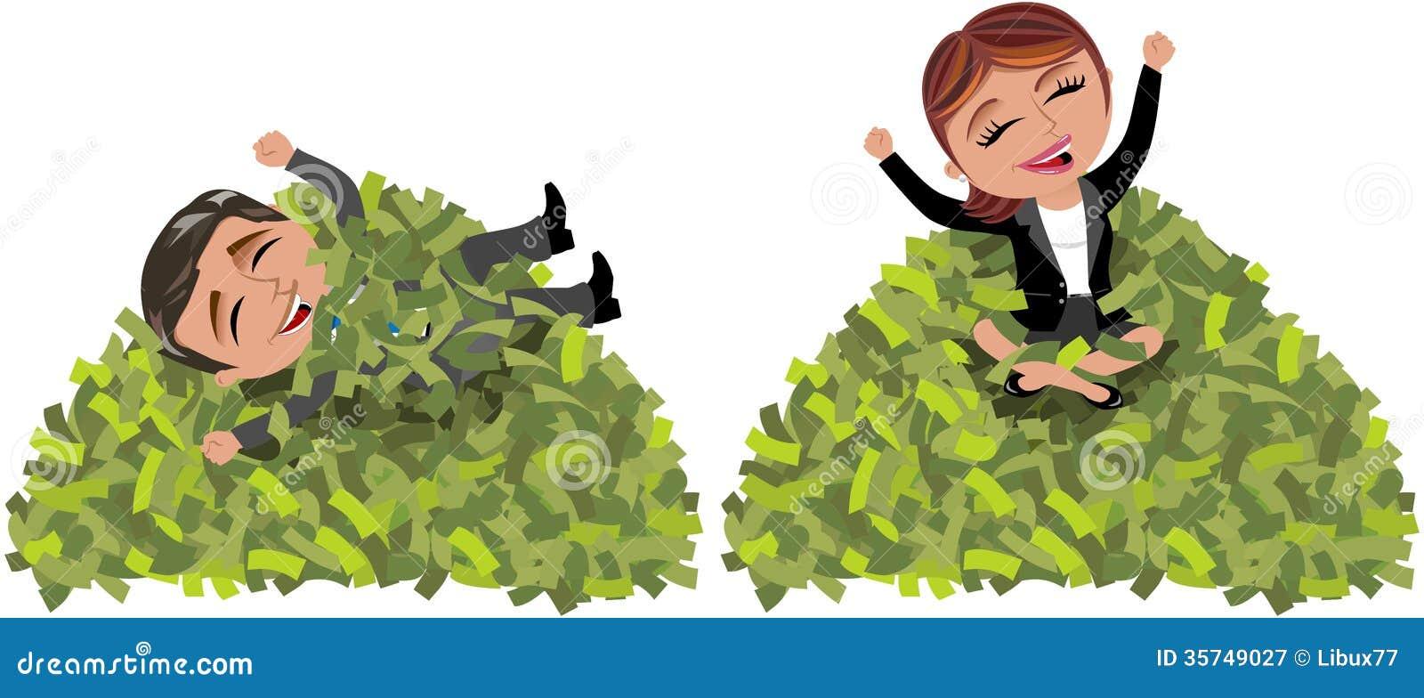 Pomyślny Biznesowej kobiety i mężczyzna góry pieniądze