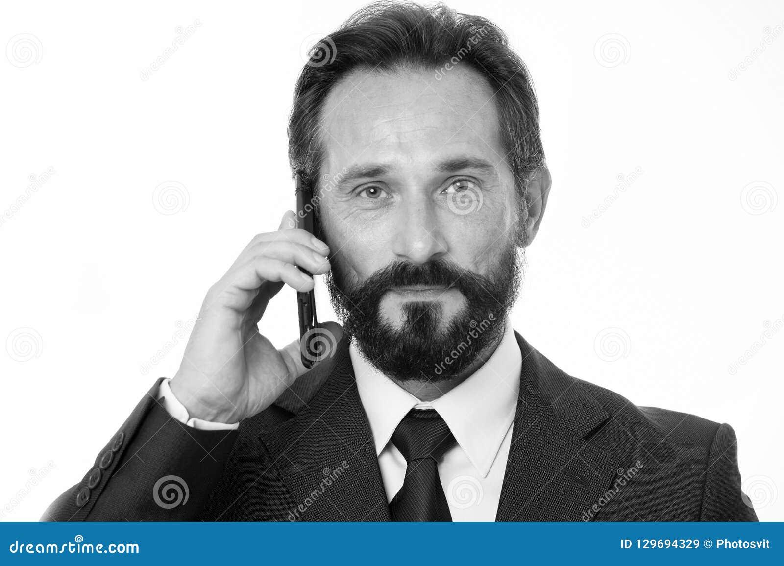 Pomyślny biznesu wezwanie Zanim wezwanie pisze puszek informaci musi przenosić i cokolwiek potrzeba pyta klienta Biznesmen