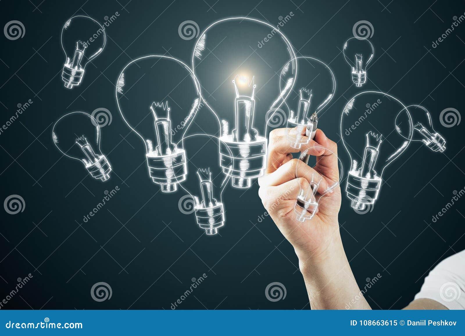 Pomysłu, innowaci i rozwiązania pojęcie,