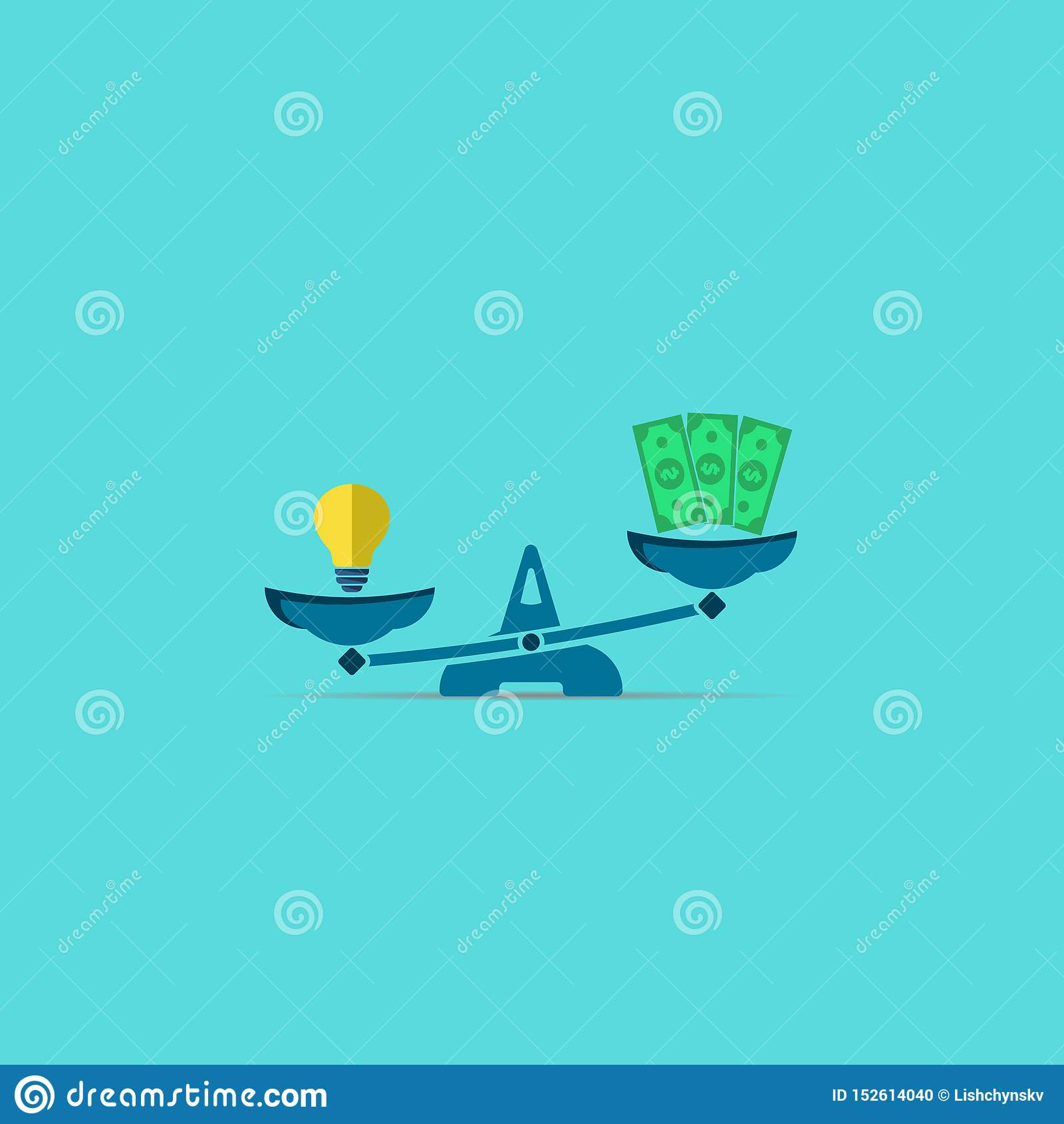 Pomysłu pieniądze i lampy dolary na skalach Wektorowy nowo?ytny symbol