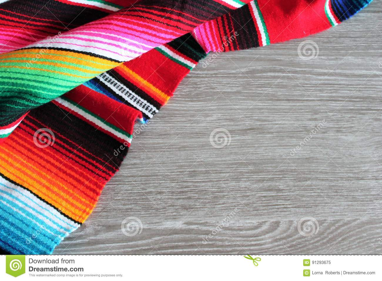 Poncho background Mexican serape Mexico cinco de mayo fiesta wooden copy space