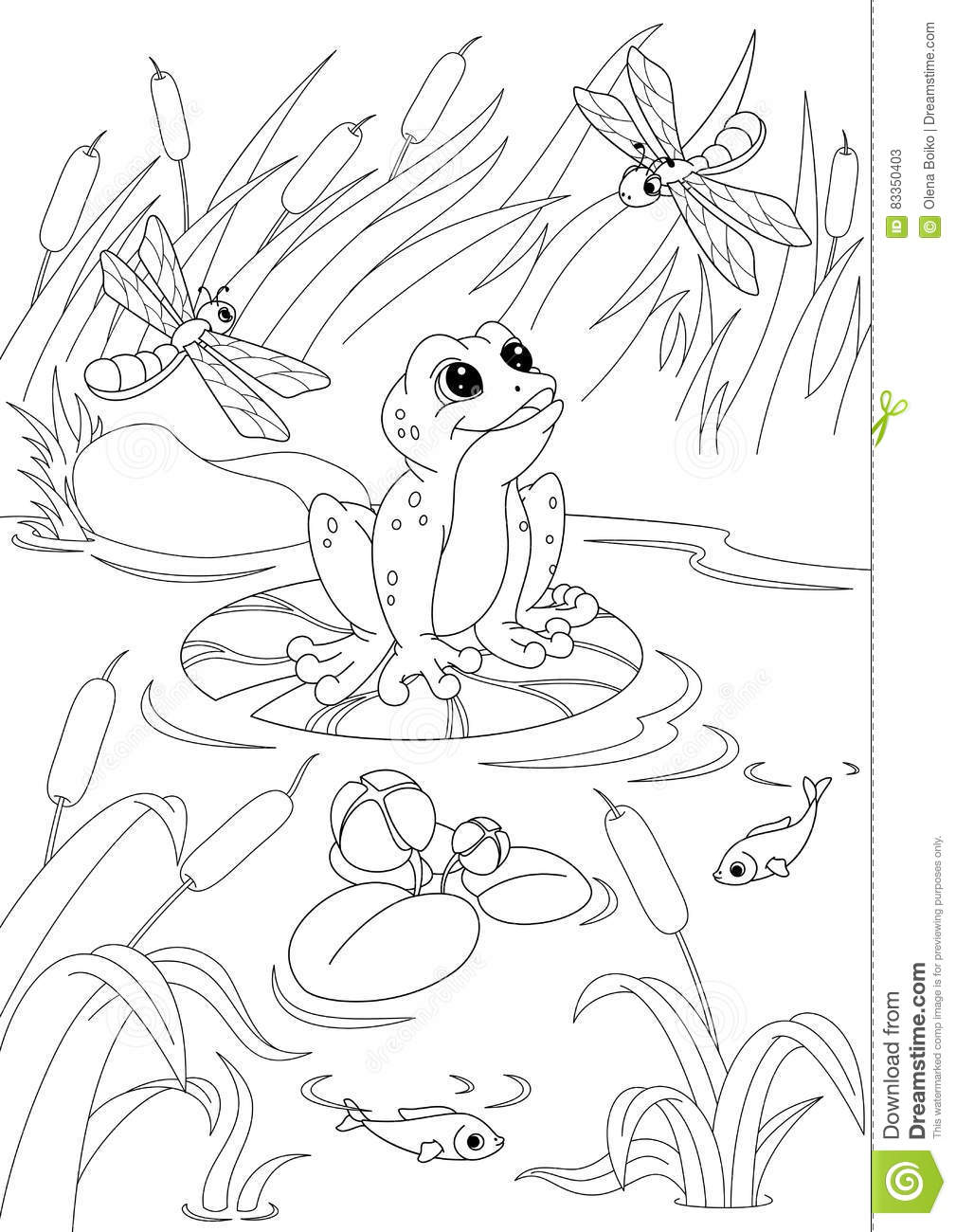 pond coloring pages | Pond Coloring Page stock vector. Illustration of water ...