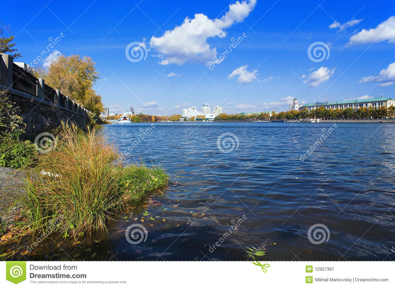 Pond embankment and buildings stock image image 12957361 for Design of pond embankment
