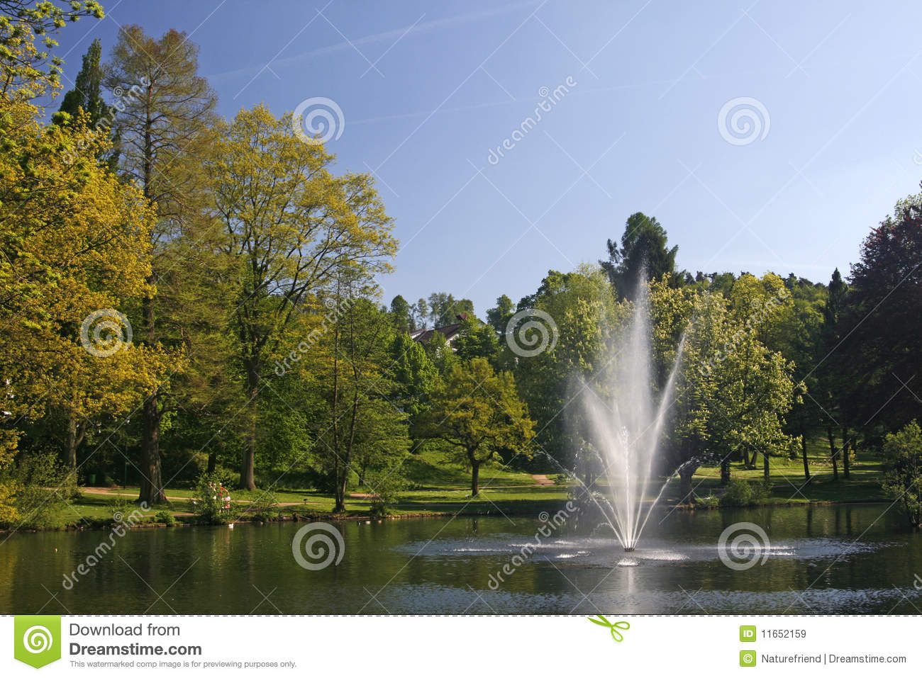 Pond with fountain in germany royalty free stock images Pond with fountain