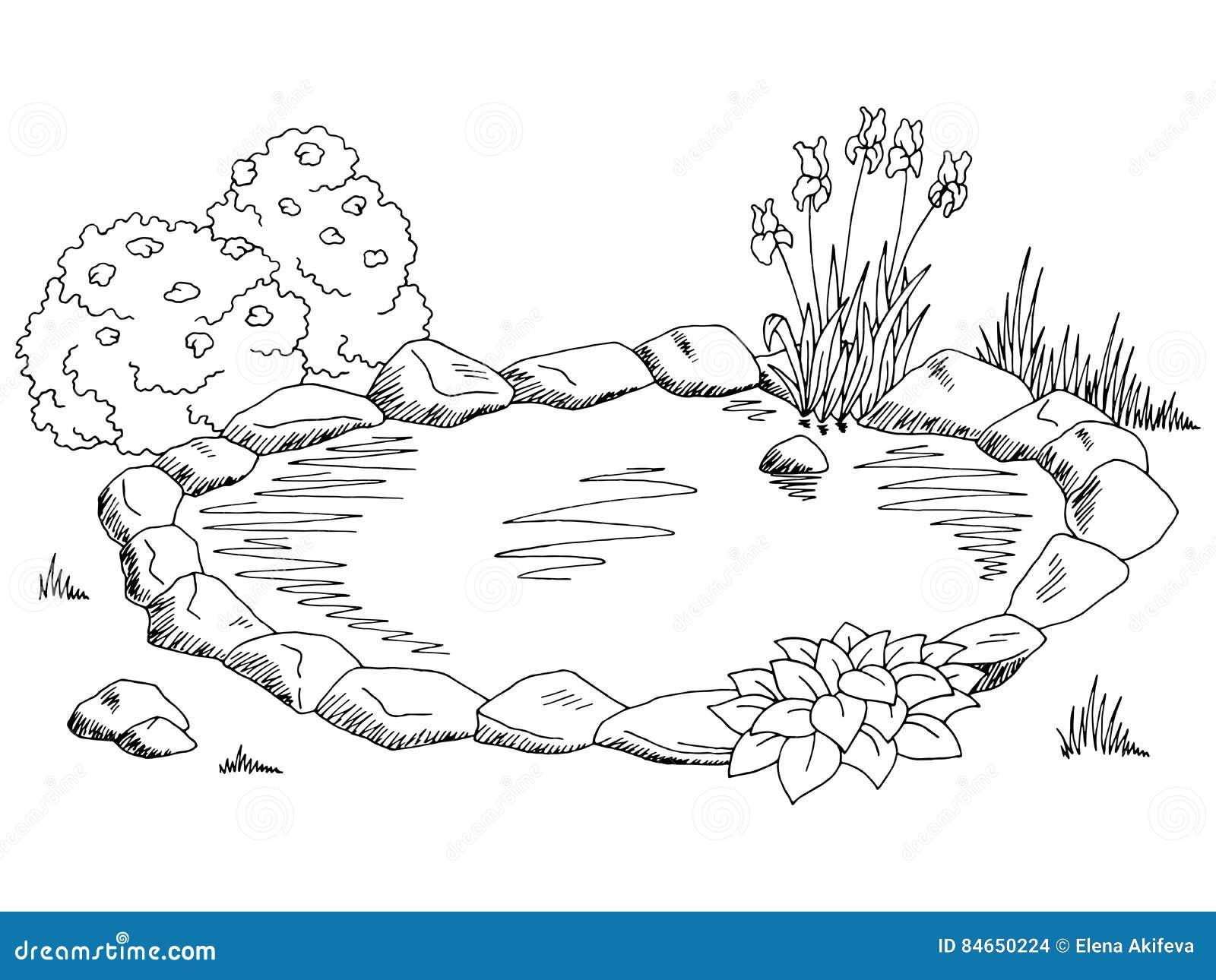 Pond Graphic Black White Landscape Sketch Illustration