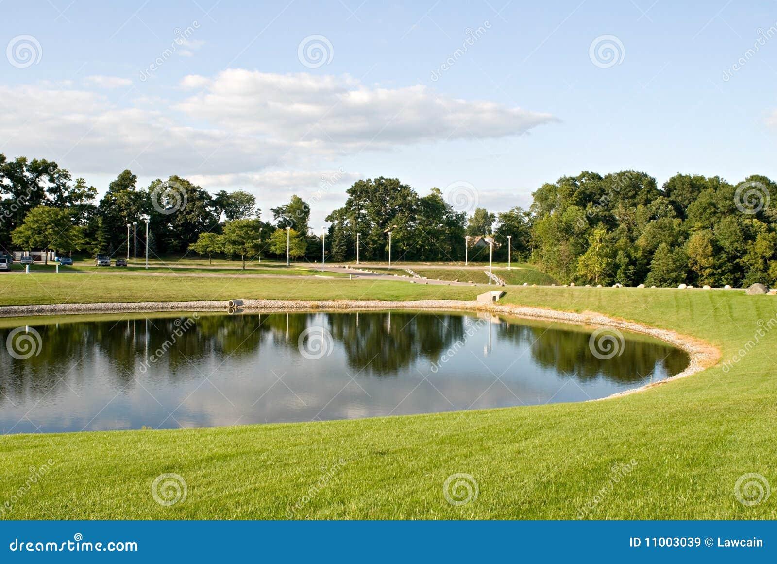 Pond landscape stock image image of calm green for Pond landscape