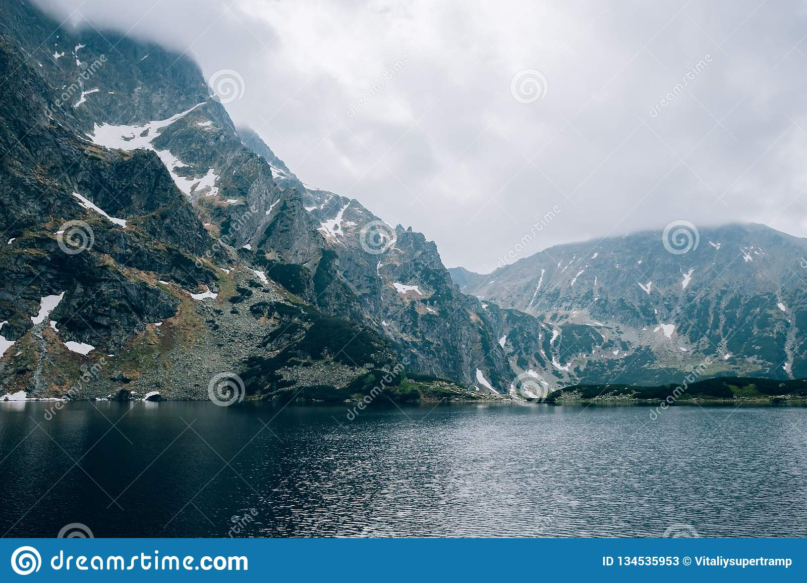 Pond In A Mountain Valley In Cloudy Weather Czarny Sraw ...