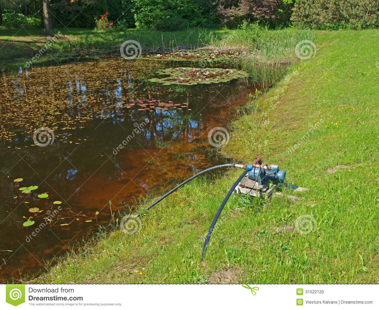 Pond With Pump Stock Photo Image 31522120