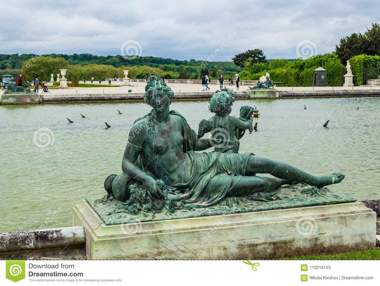 Ponds Water Parterres and statues in front of the