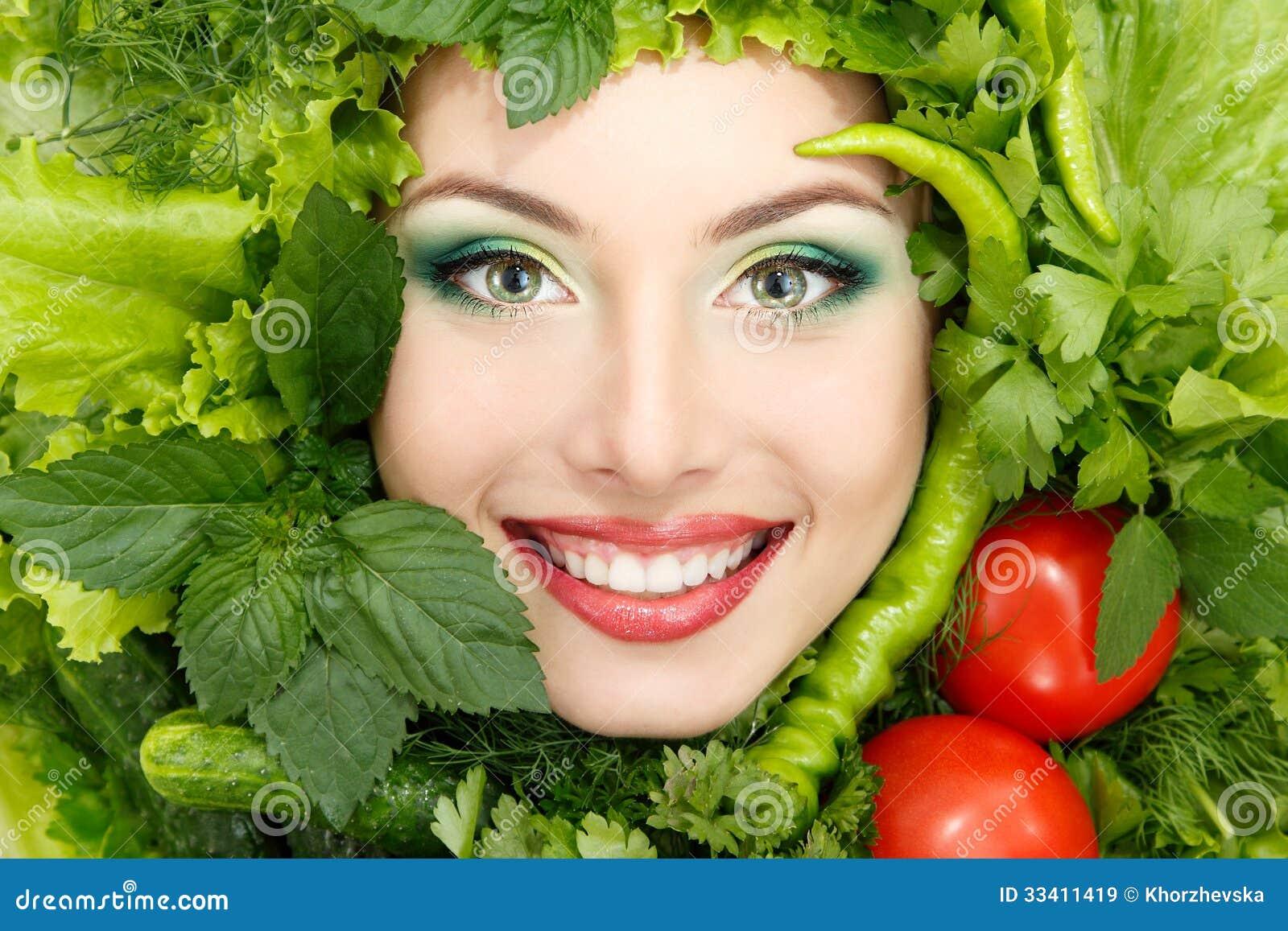 Pone Verde La Cara De La Belleza De La Mujer Del Marco De Las ...