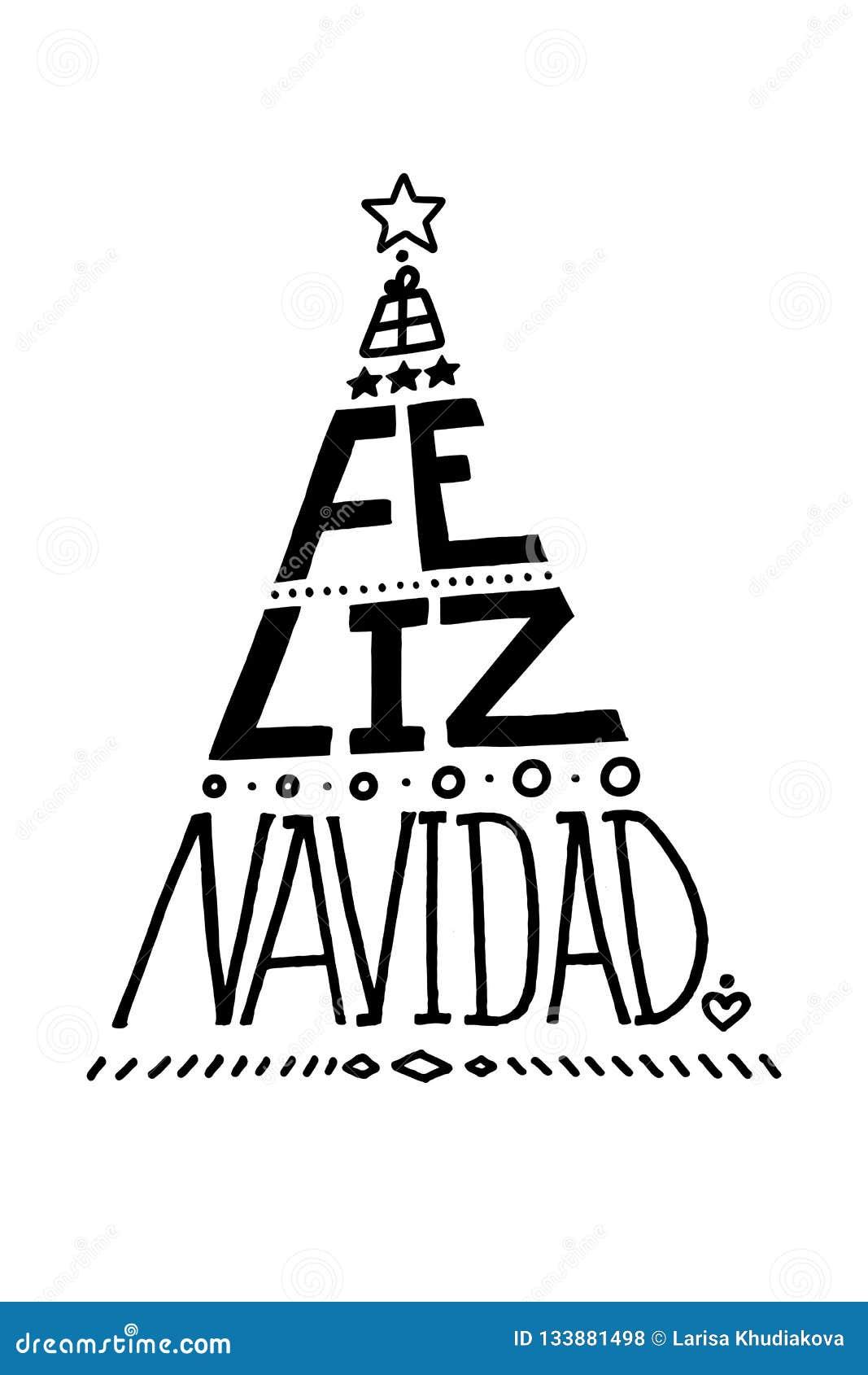 poner letras al cartel feliz navidad merry christmas espanol forma del arbol de navidad ilustracion del vector ilustracion de poner cartel 133881498 cartel feliz navidad merry christmas