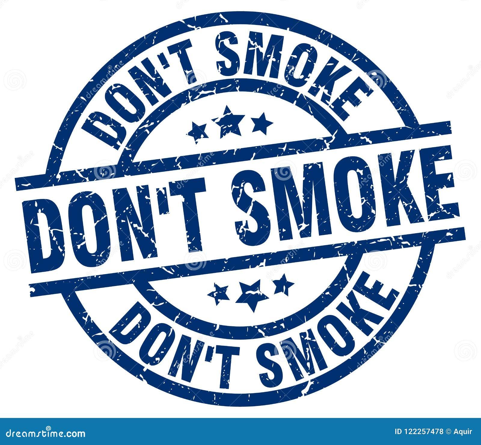 Ponga el sello redondo azul del humo del ` t