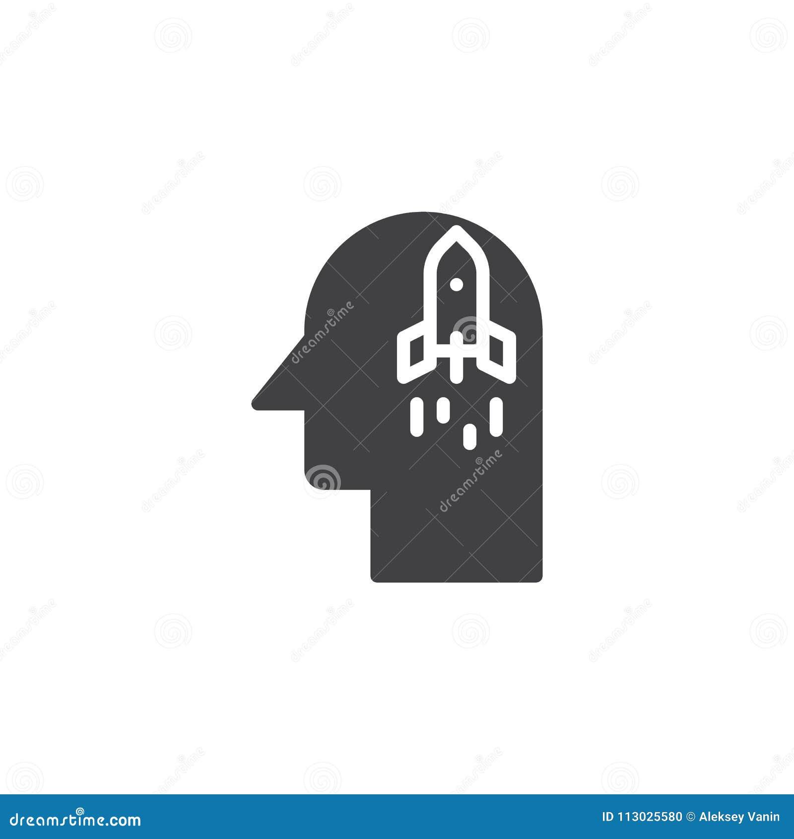 Ponga en marcha el cohete en icono del vector de la cabeza humana