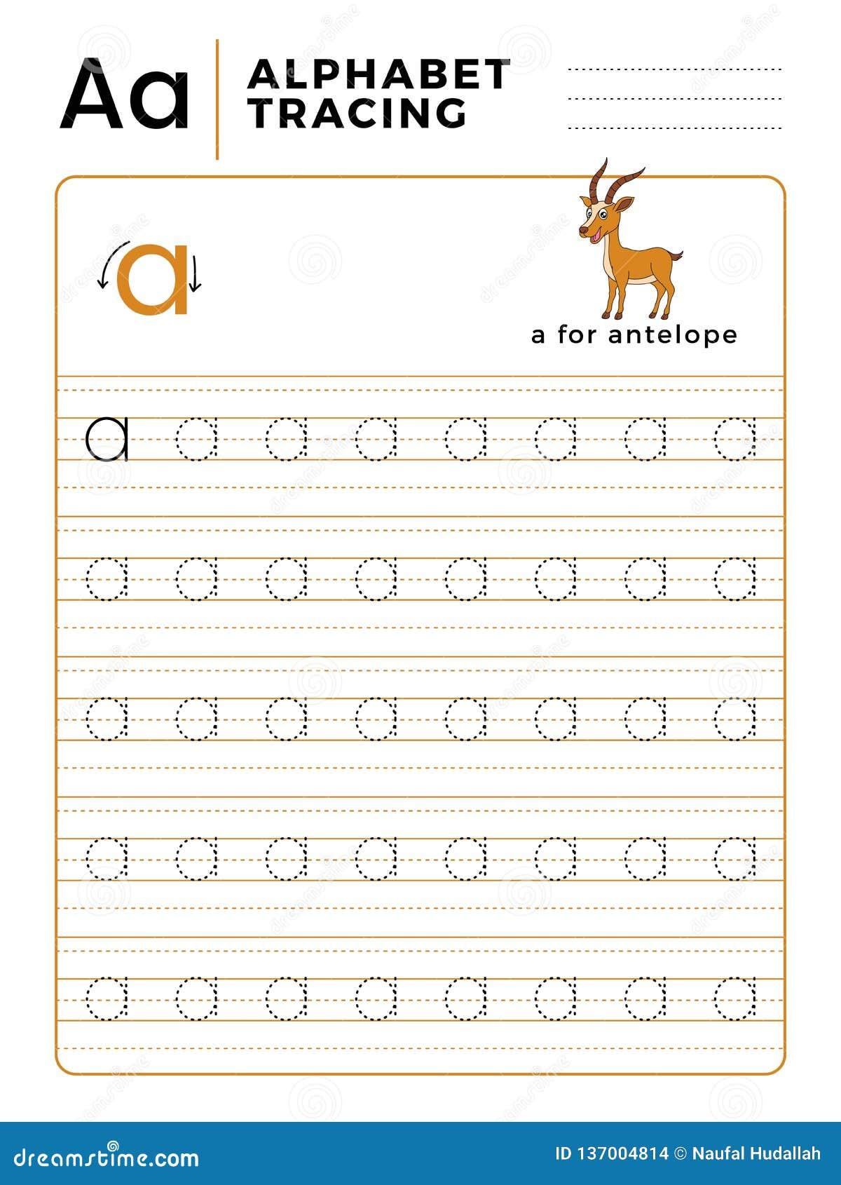 Ponga letras a un libro del trazo del alfabeto con ejemplo y la historieta divertida de los ciervos del antílope Hoja de trabajo