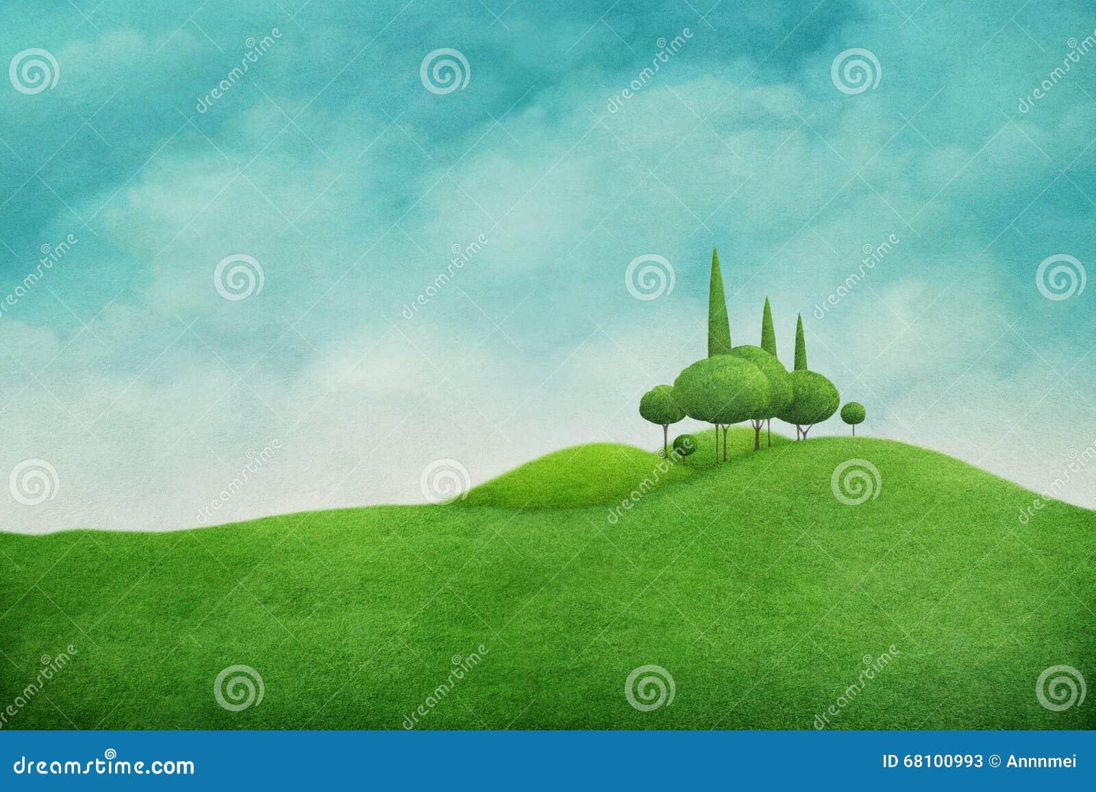 Ponga verde el paisaje del resorte