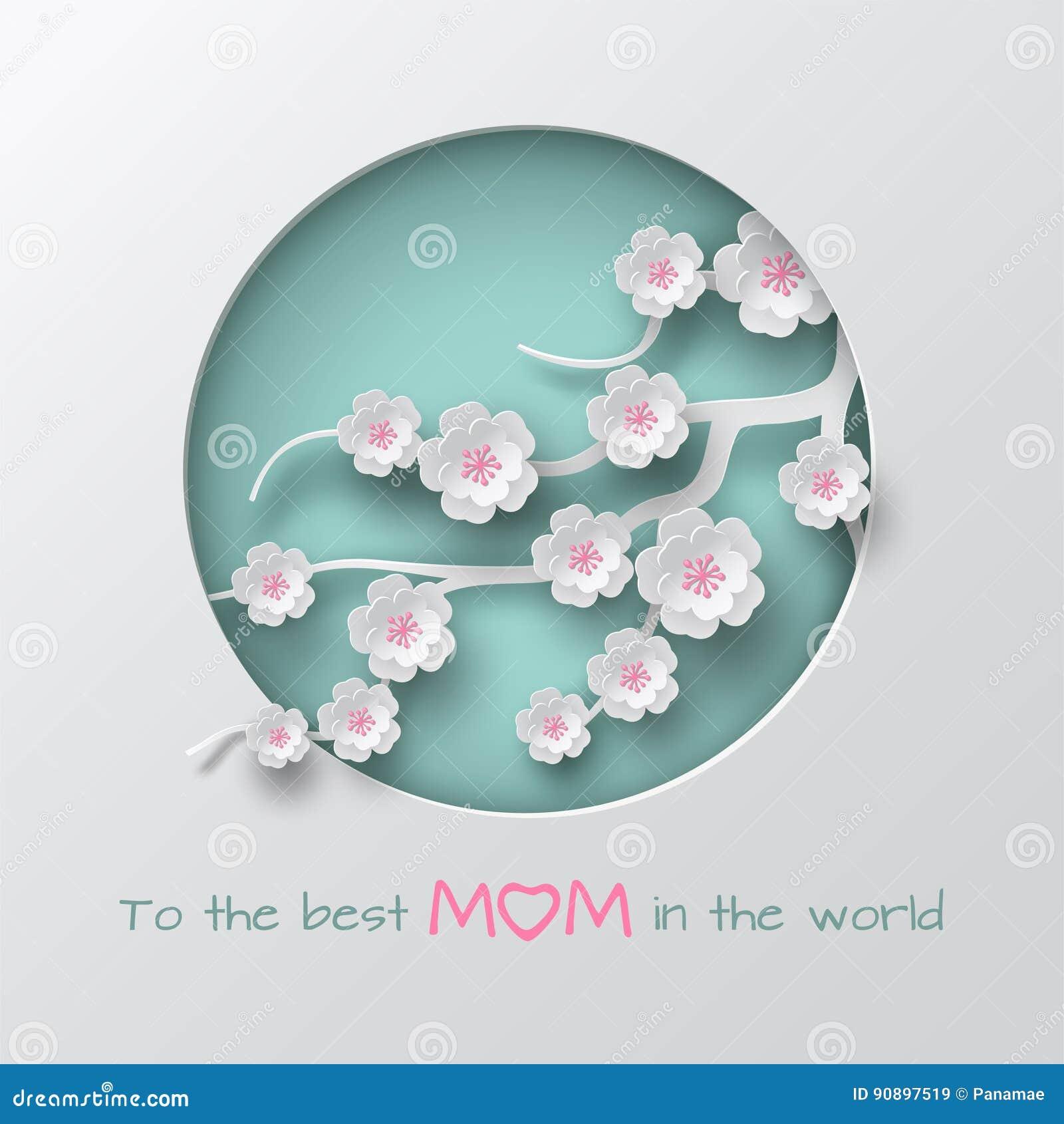 Ponga verde la rama adornada círculo cuted de las flores de la cereza en el fondo blanco para la tarjeta de felicitación del día