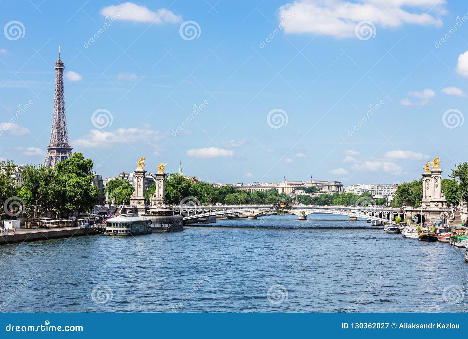 Pont Alexandre III Brug met de Toren van Eiffel Parijs, Frankrijk
