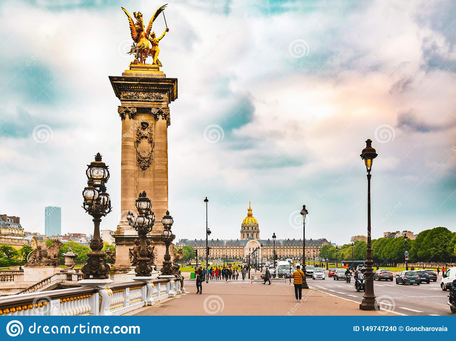 Pont Alexandre III and Les Invalides in Paris, France.