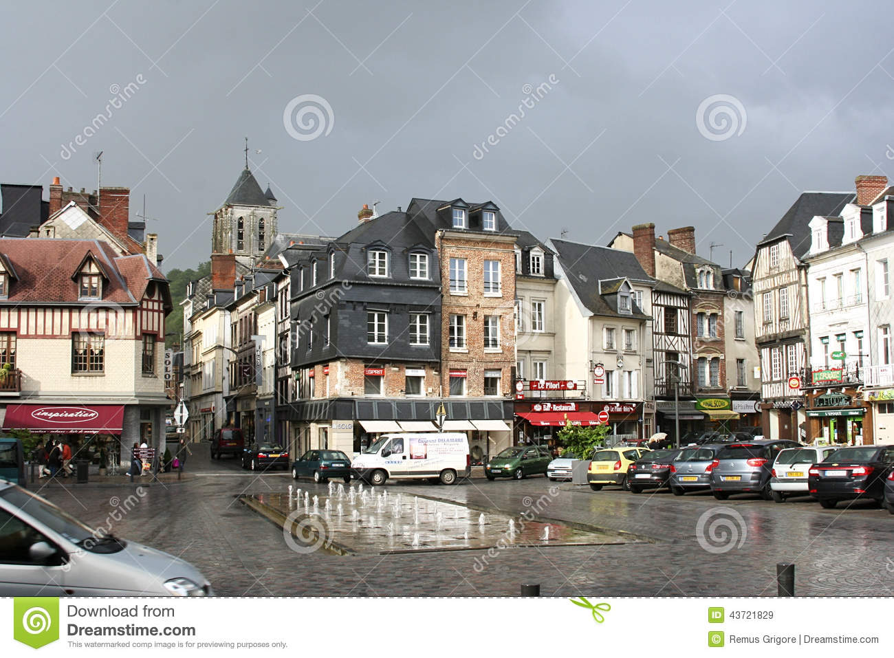 pont audemer editorial stock image image of pont facade 43721829. Black Bedroom Furniture Sets. Home Design Ideas
