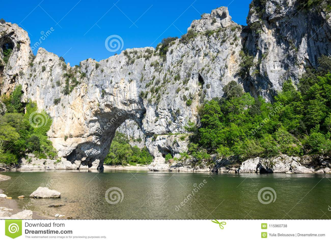 The Pont D Arc In France Stock Photo Image Of Mountain