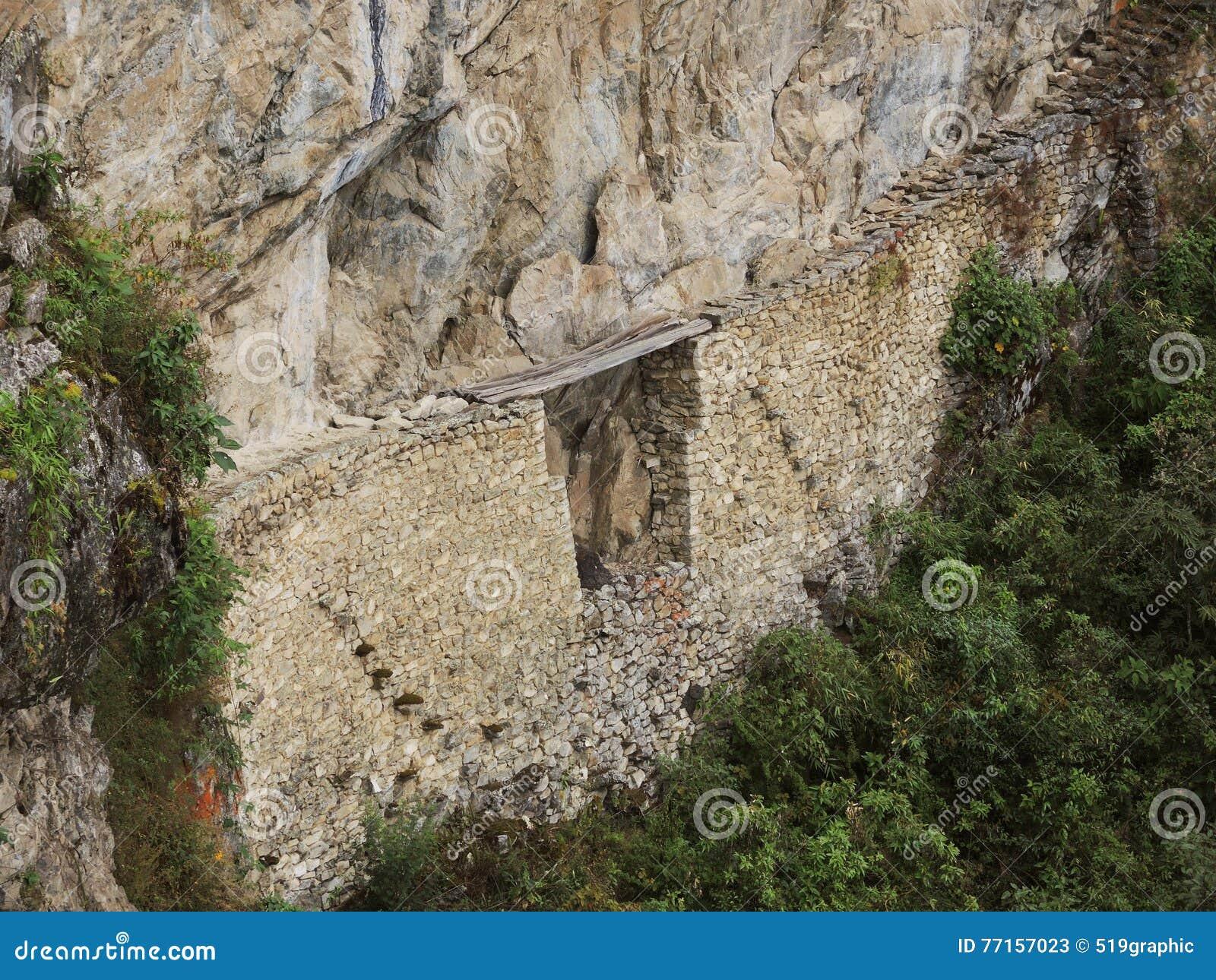Pont d Inca dans Machu Picchu, Pérou