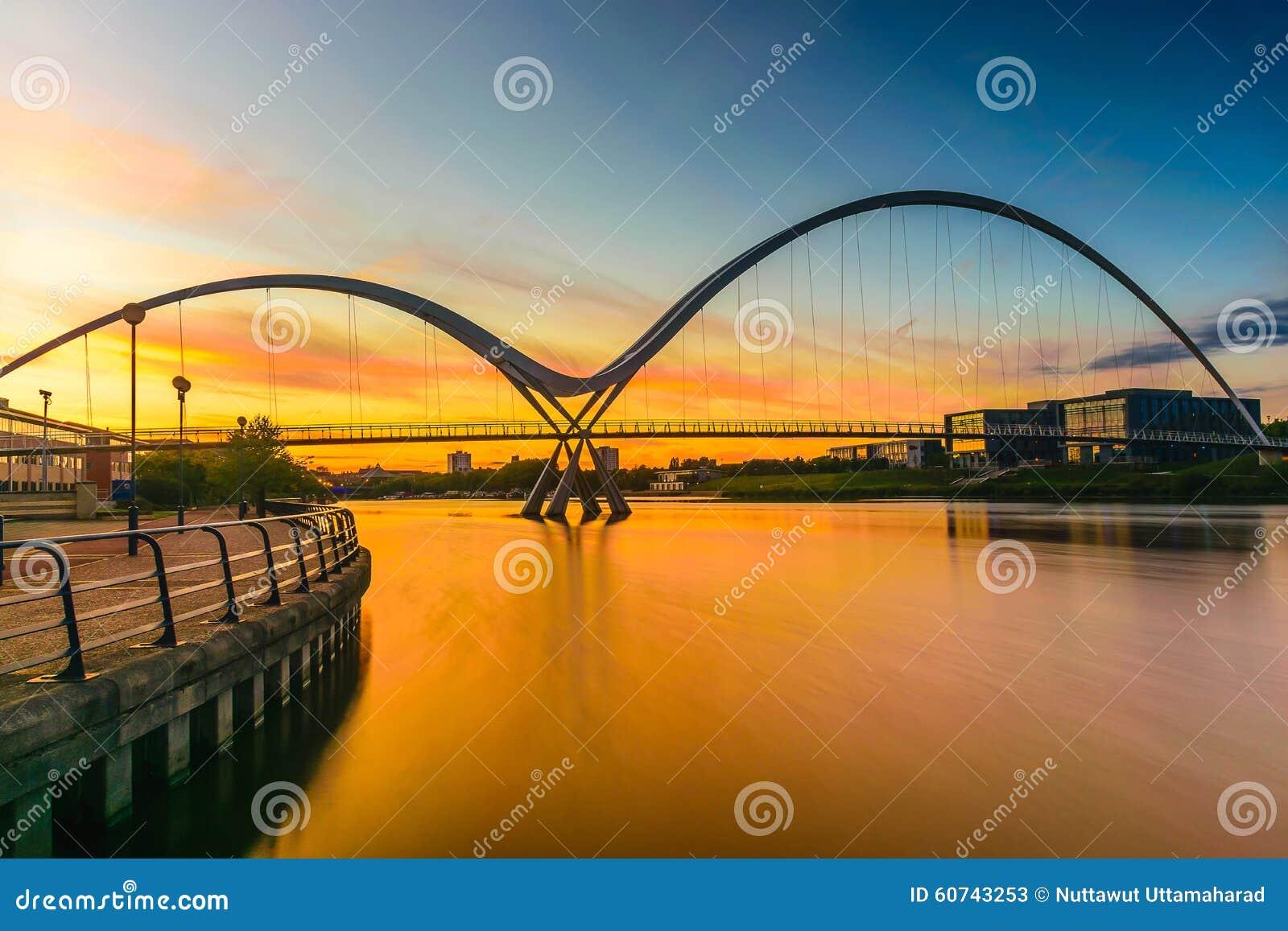 Pont d infini au coucher du soleil dans les Stockton-sur-pièces en t
