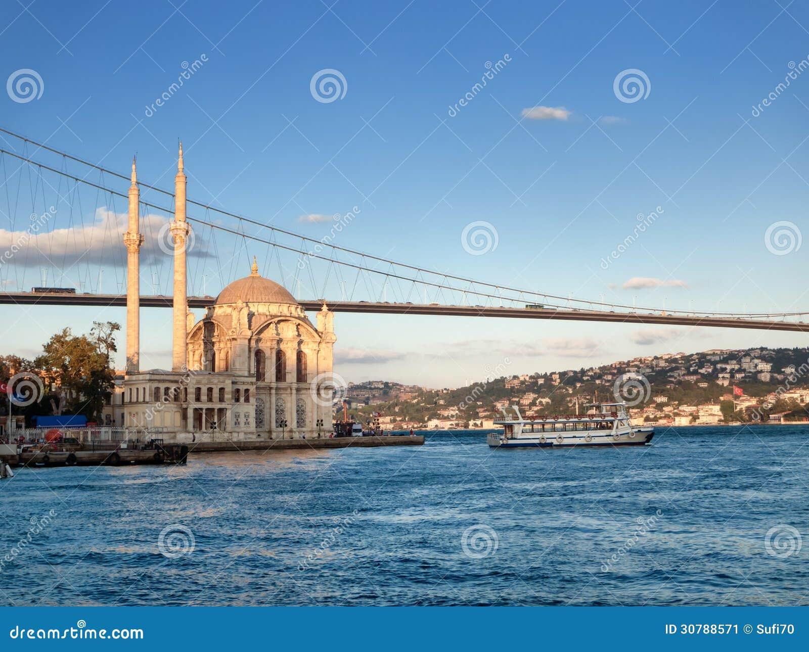 Pont de Bosphorus et mosquée d Ortakoy à Istanbul