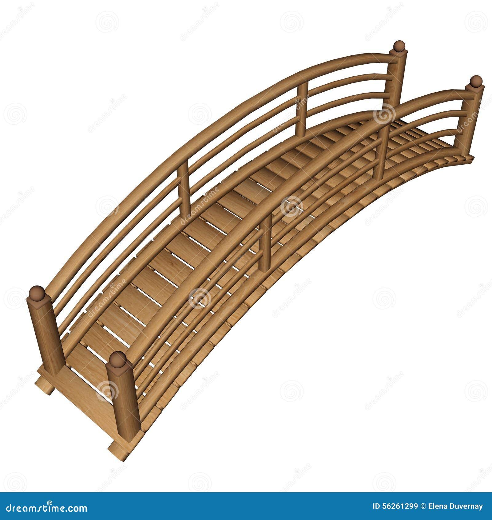 Pont de jardin 3d rendent illustration stock image - Pont en bois jardin ...
