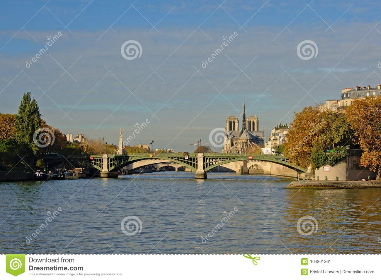 Pont De La Tournelle Bridge Over River Seine Paris France