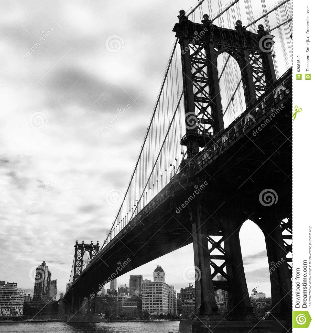 pont de manhattan dans le style noir et blanc de photo new york etats unis photo stock image. Black Bedroom Furniture Sets. Home Design Ideas