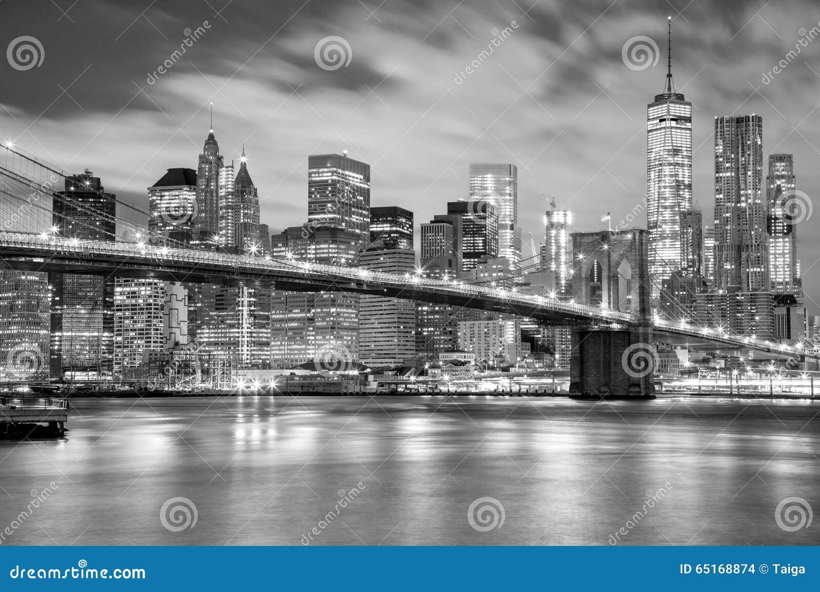 pont de manhattan et de brooklyn noir et blanc new york. Black Bedroom Furniture Sets. Home Design Ideas