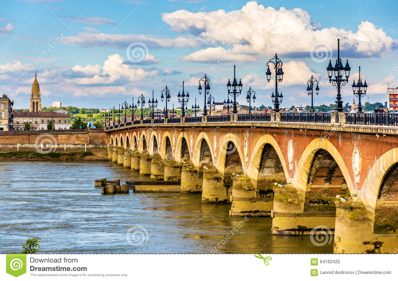 pont de pierre in bordeaux france stock image image of famous blue 64162425. Black Bedroom Furniture Sets. Home Design Ideas