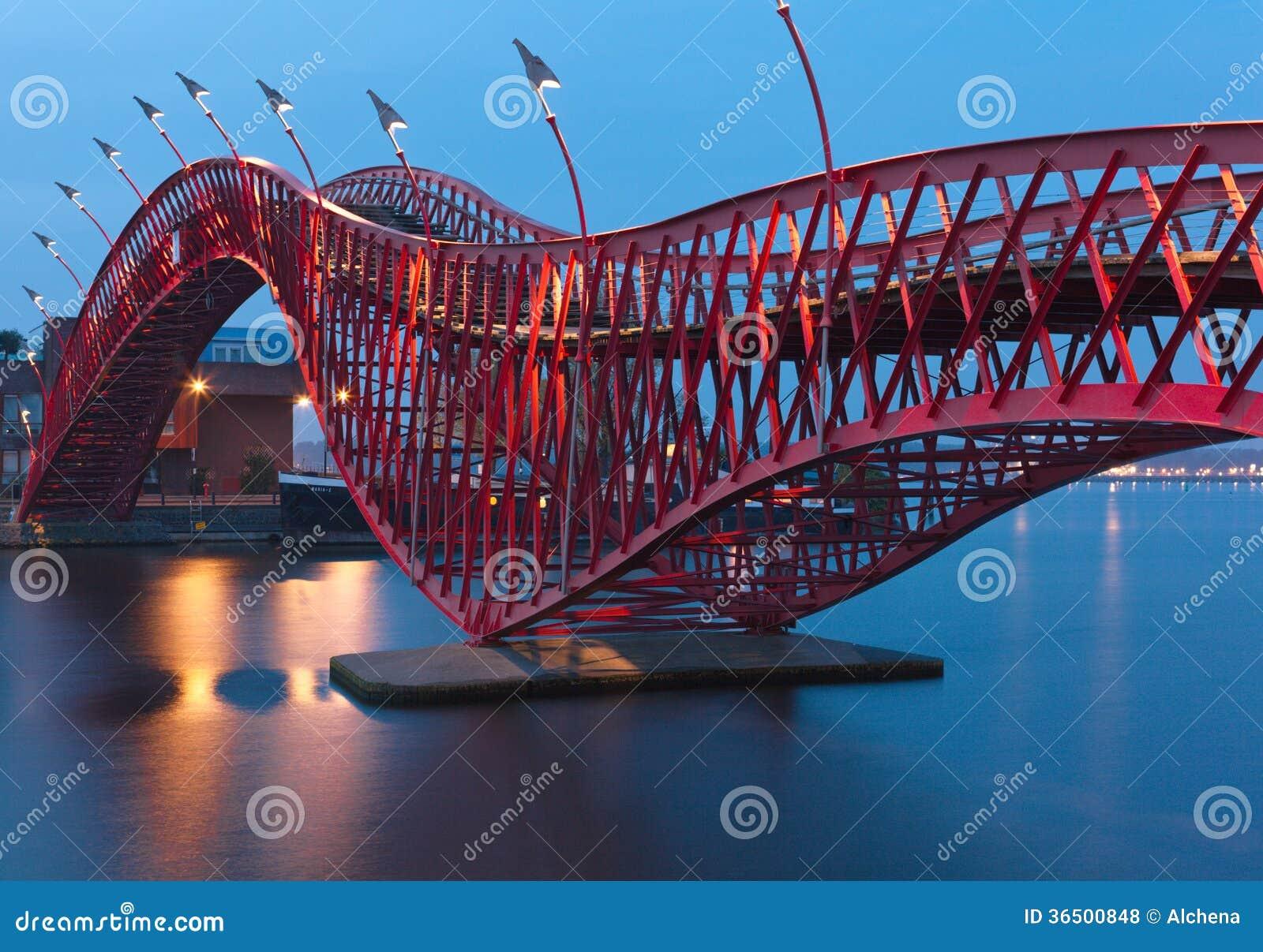 Pont de python à Amsterdam - scène de nuit