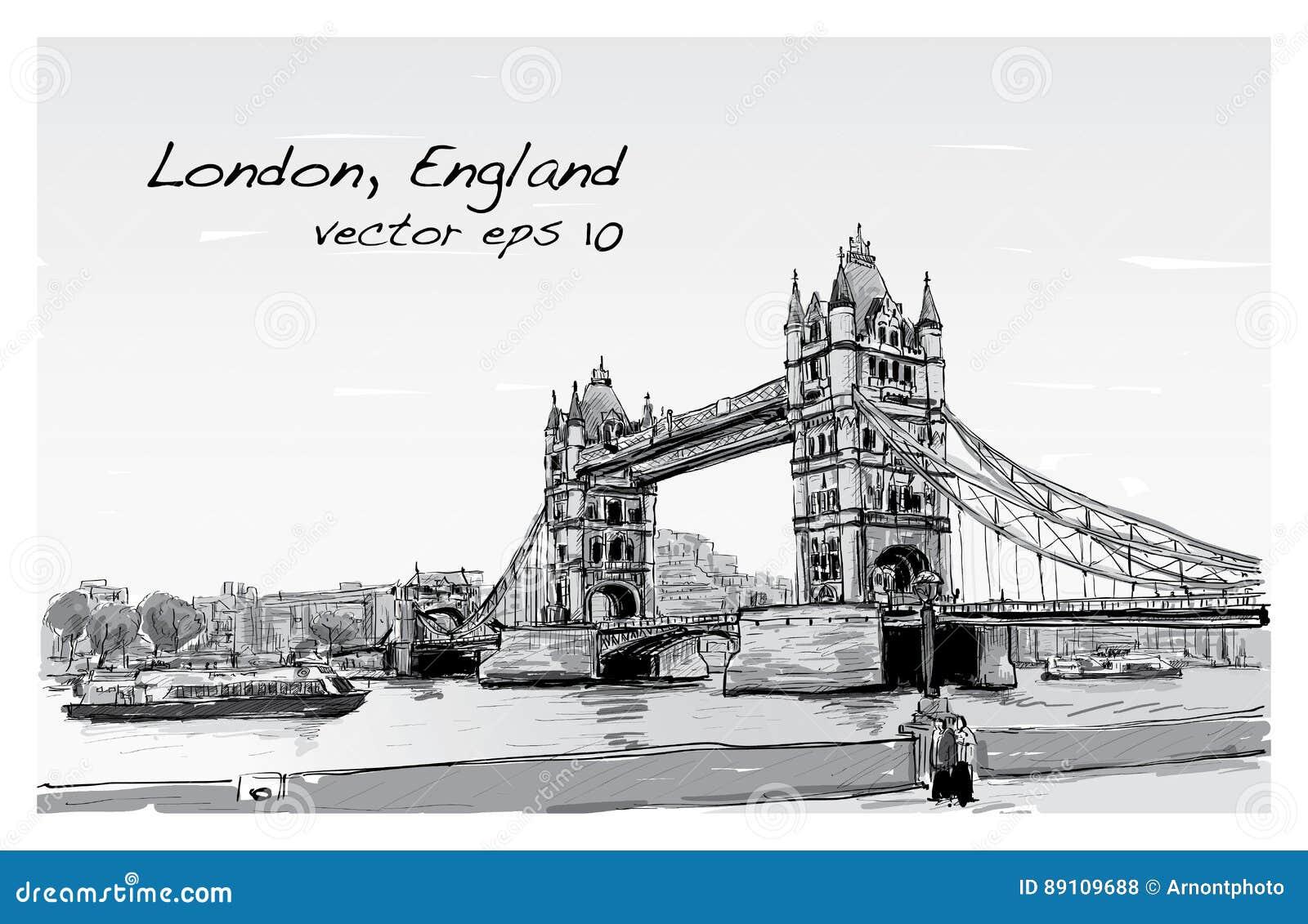Pont de tour de croquis de dessin de paysage urbain londres angleterre illustration de vecteur - Dessin de l angleterre ...