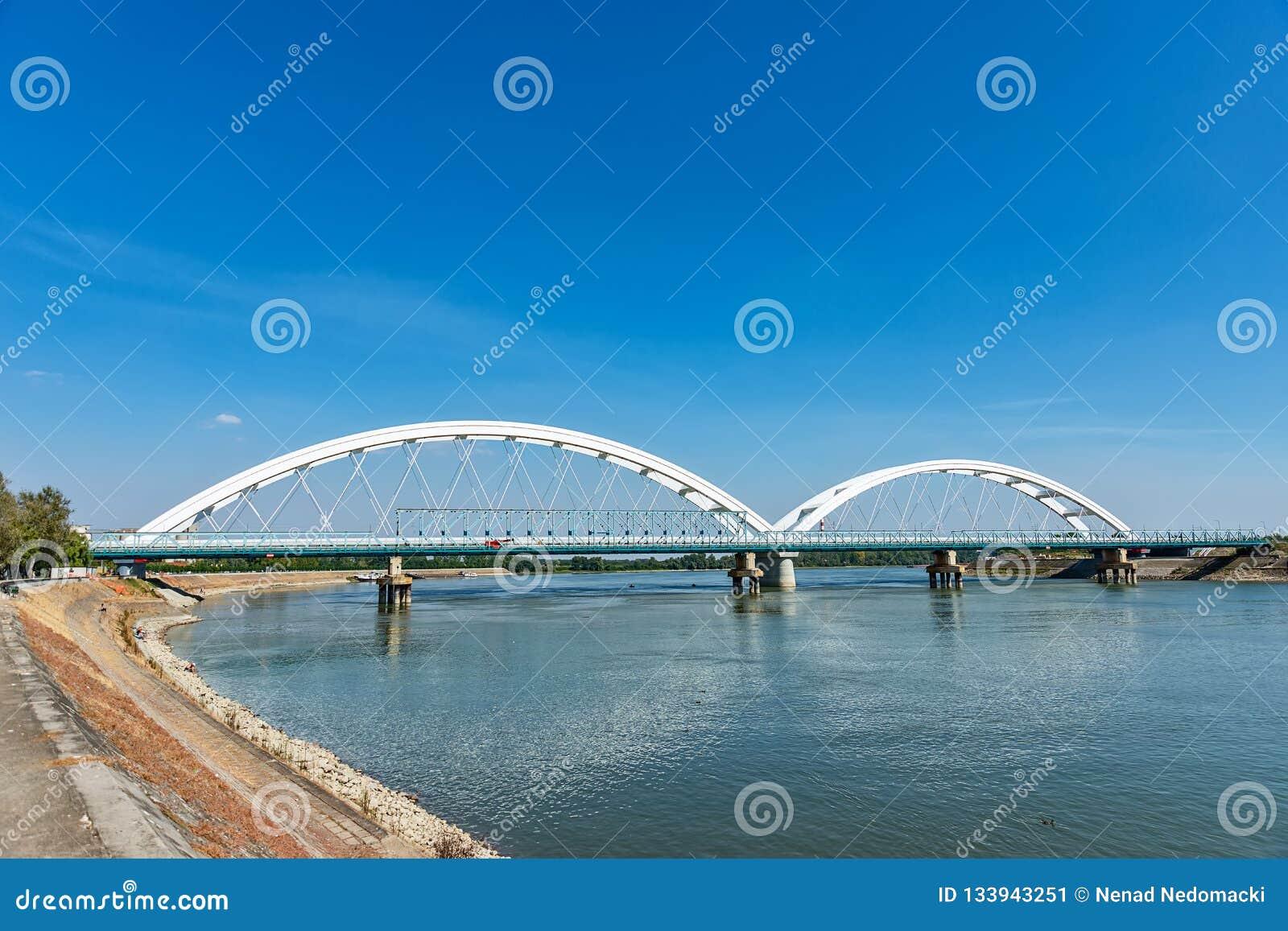 Pont de Zezelj au-dessus de Danube à Novi Sad