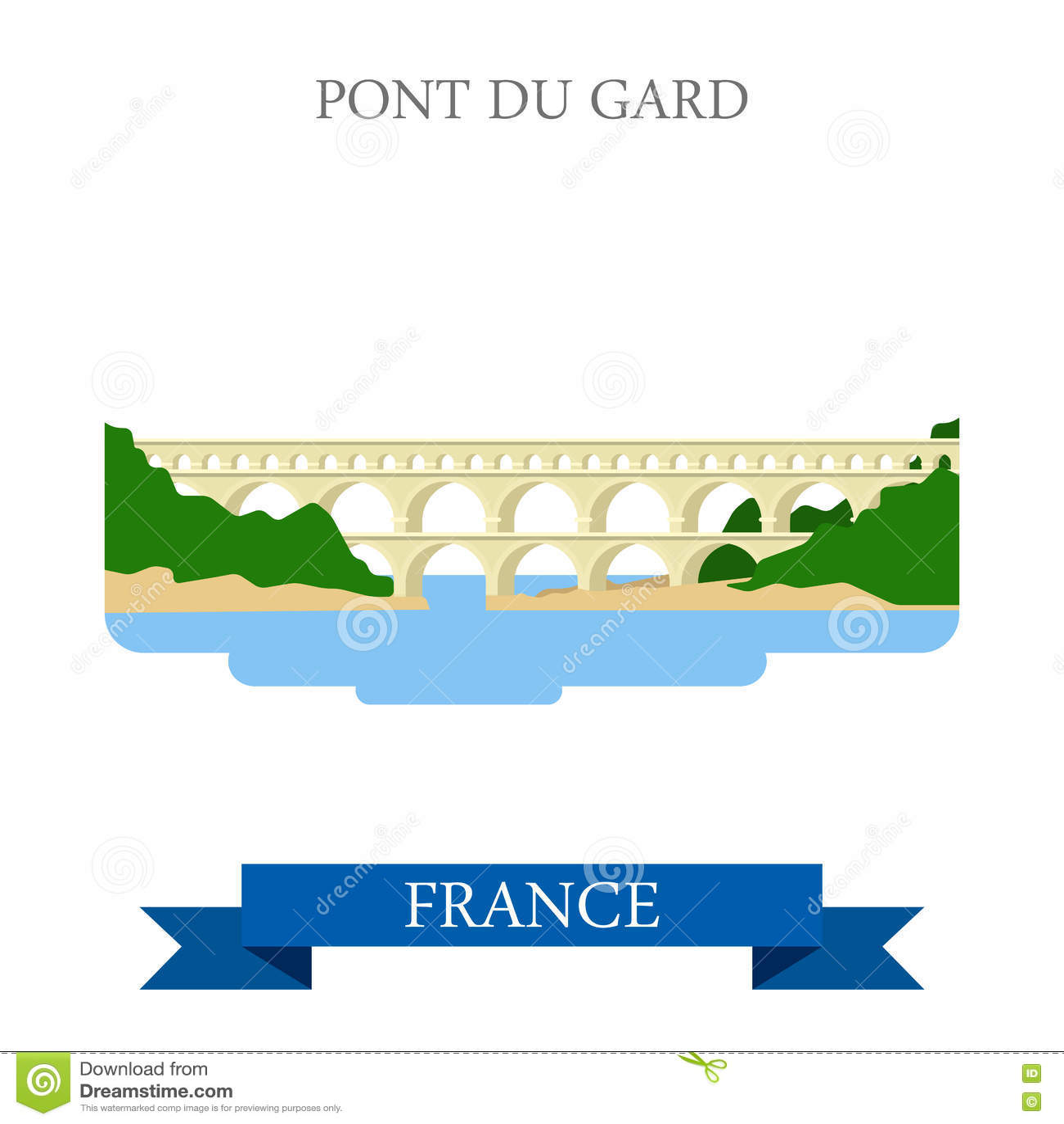 Pont du il Gard in punto di riferimento piano di vista dell attrazione di vettore della Francia