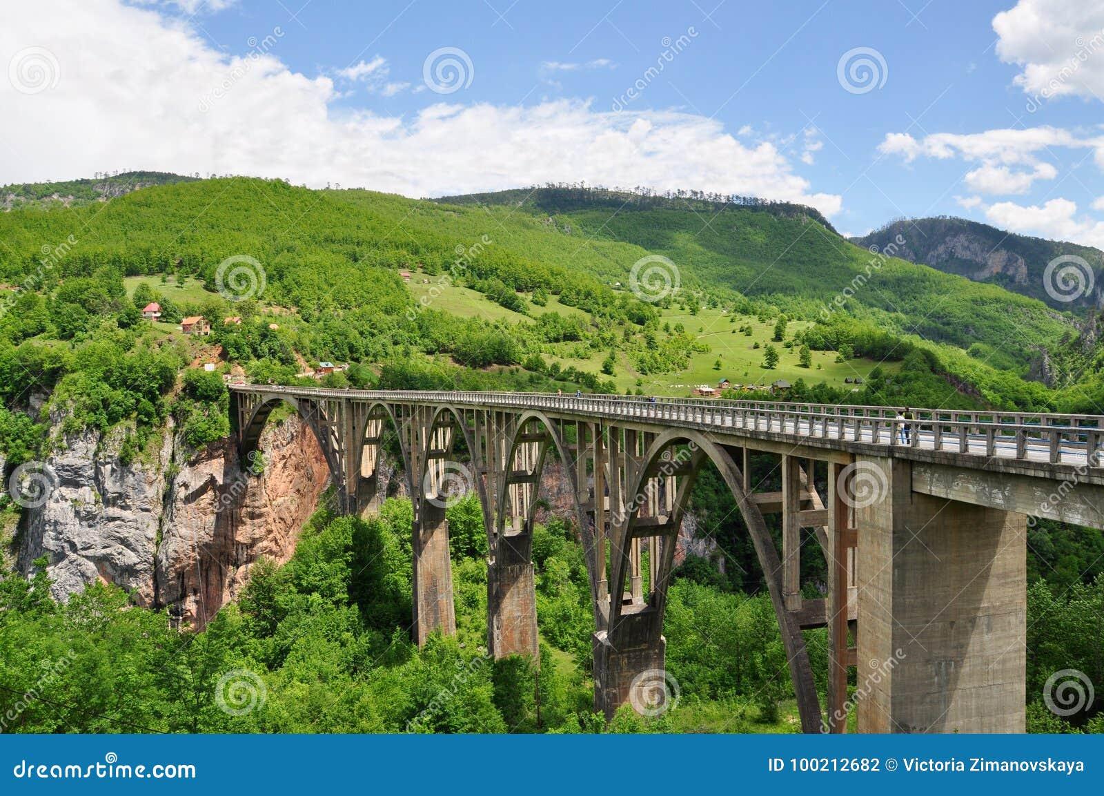 Pont du ` s de Djurdjevic - un pont concret de voûte à travers Tara River dans Monténégro
