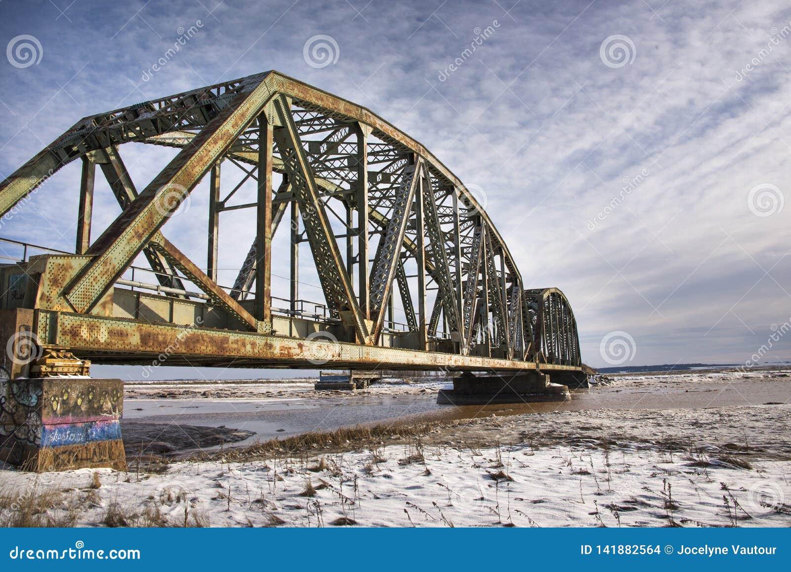 Pont en train avec les cieux bleus