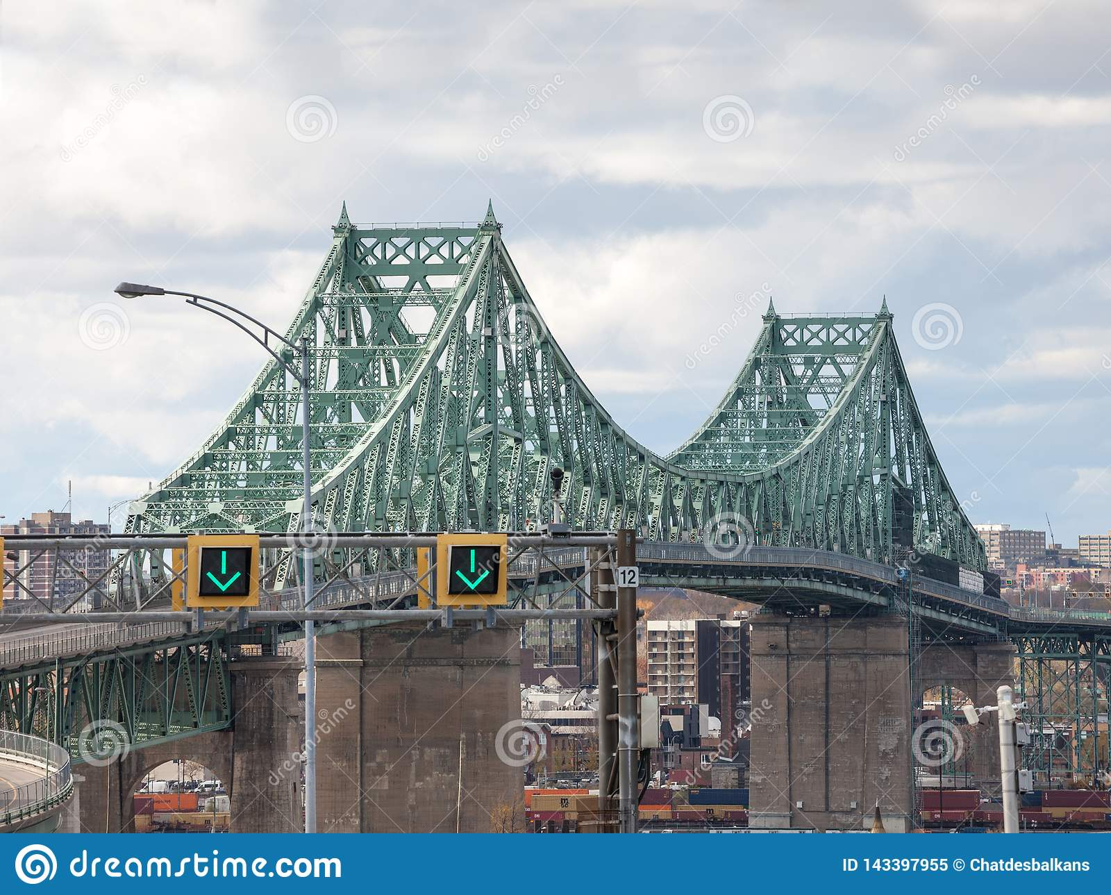 Pont Jacques Cartier bridge taken in the direction of Montreal, in Quebec, Canada on the Saint Lawrence river,