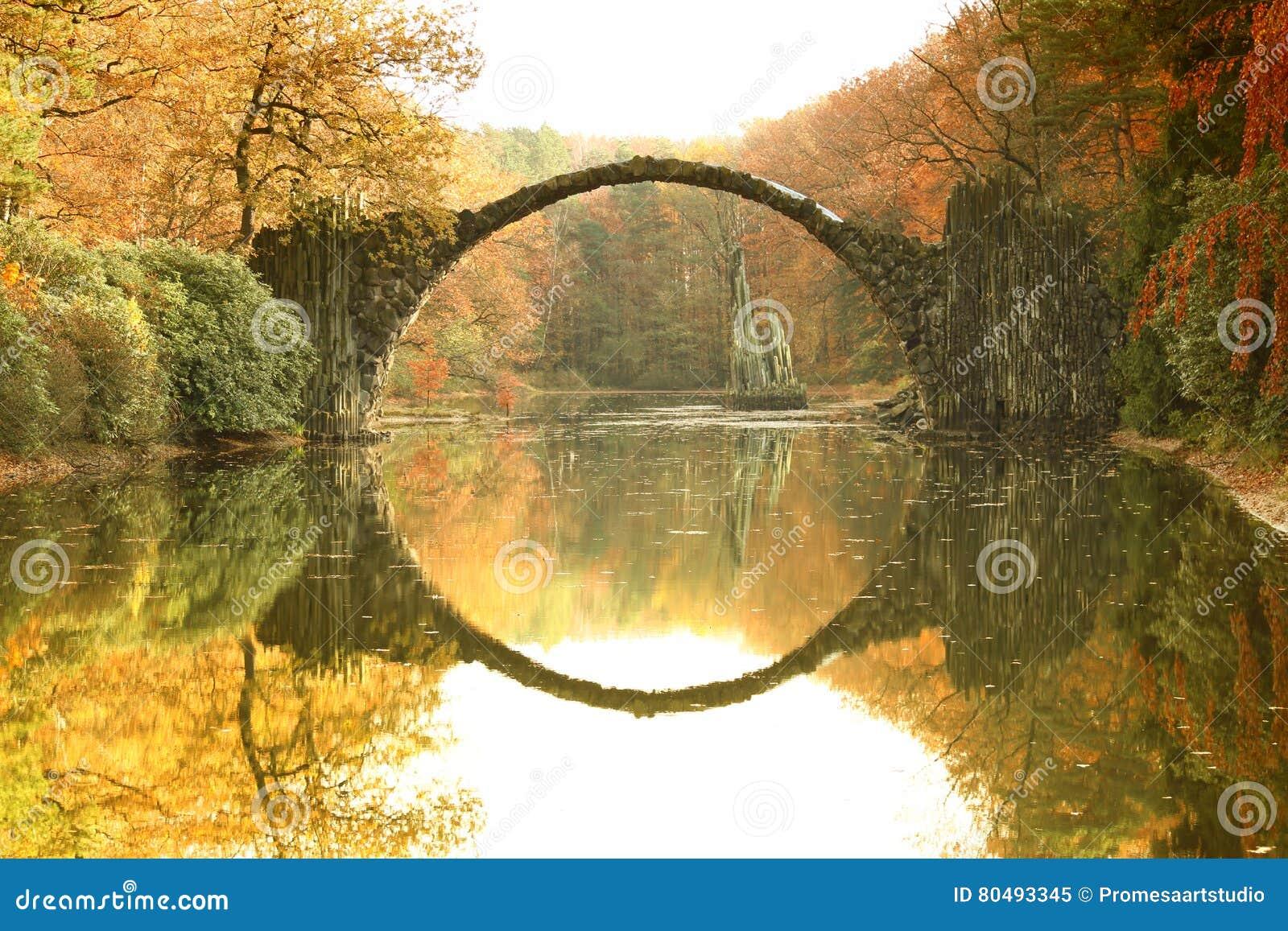 Pont Rakotzbrucke Pont De Rakotz Du S De Diable Dans Kromlau Saxe Photo Stock Image 80493345