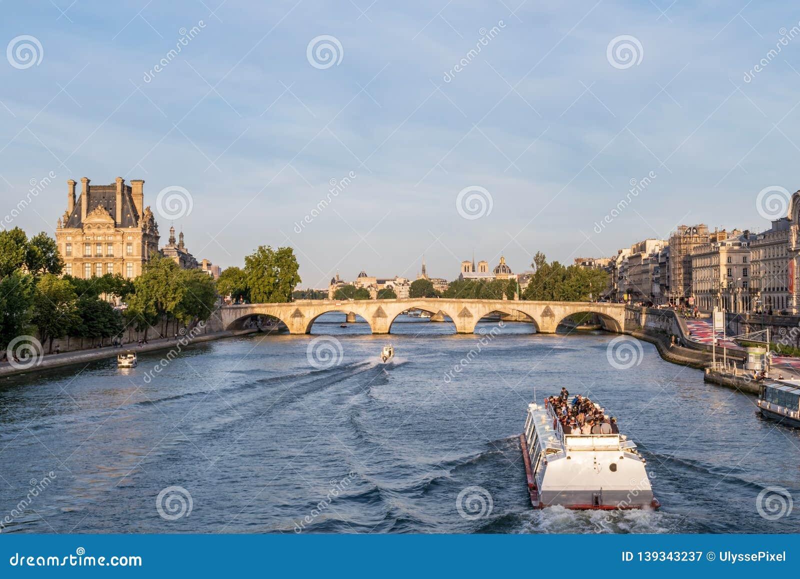 Pont Royal Over The Seine River Paris France Editorial