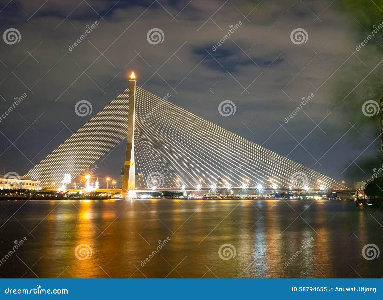 Pont suspendu de déséquilibre de pont de Rama 8 au-dessus du Chaophraya Ri