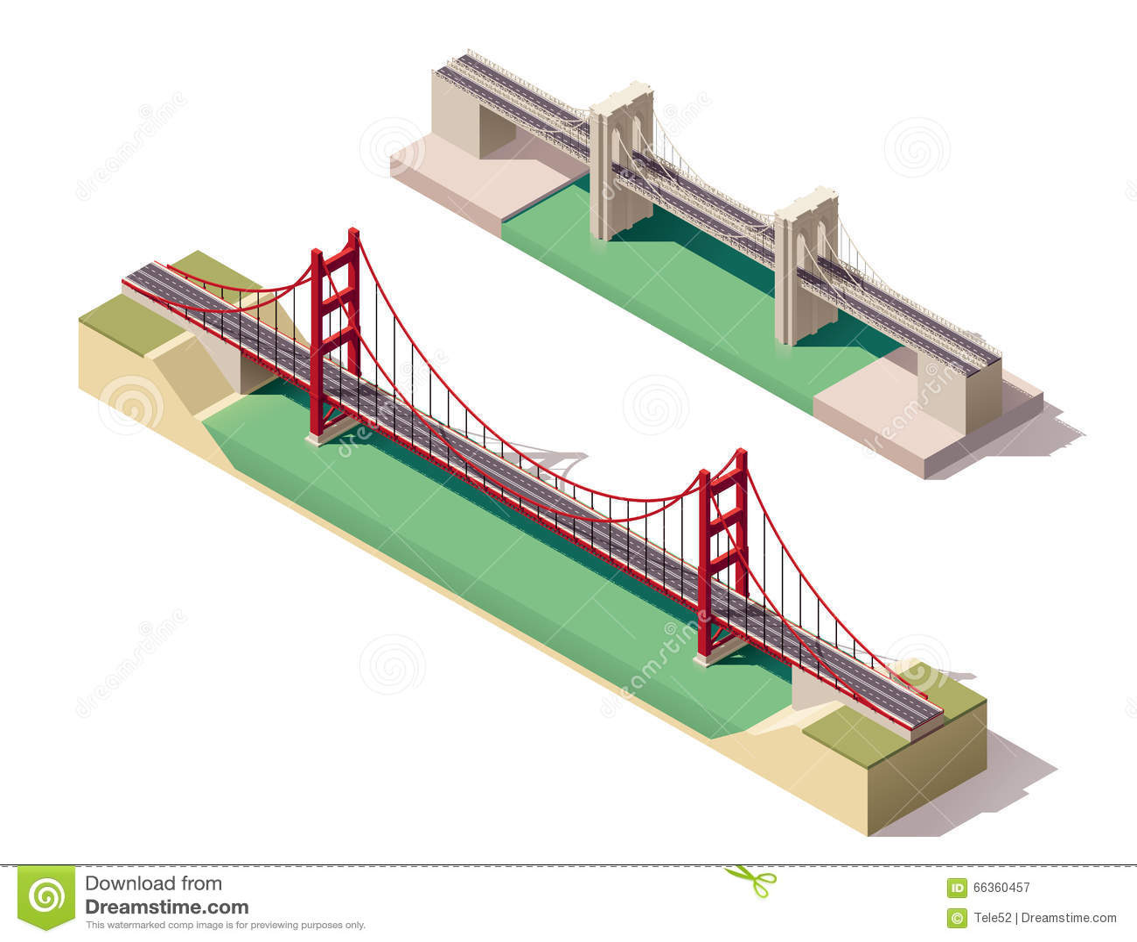 Pont suspendu isométrique de vecteur