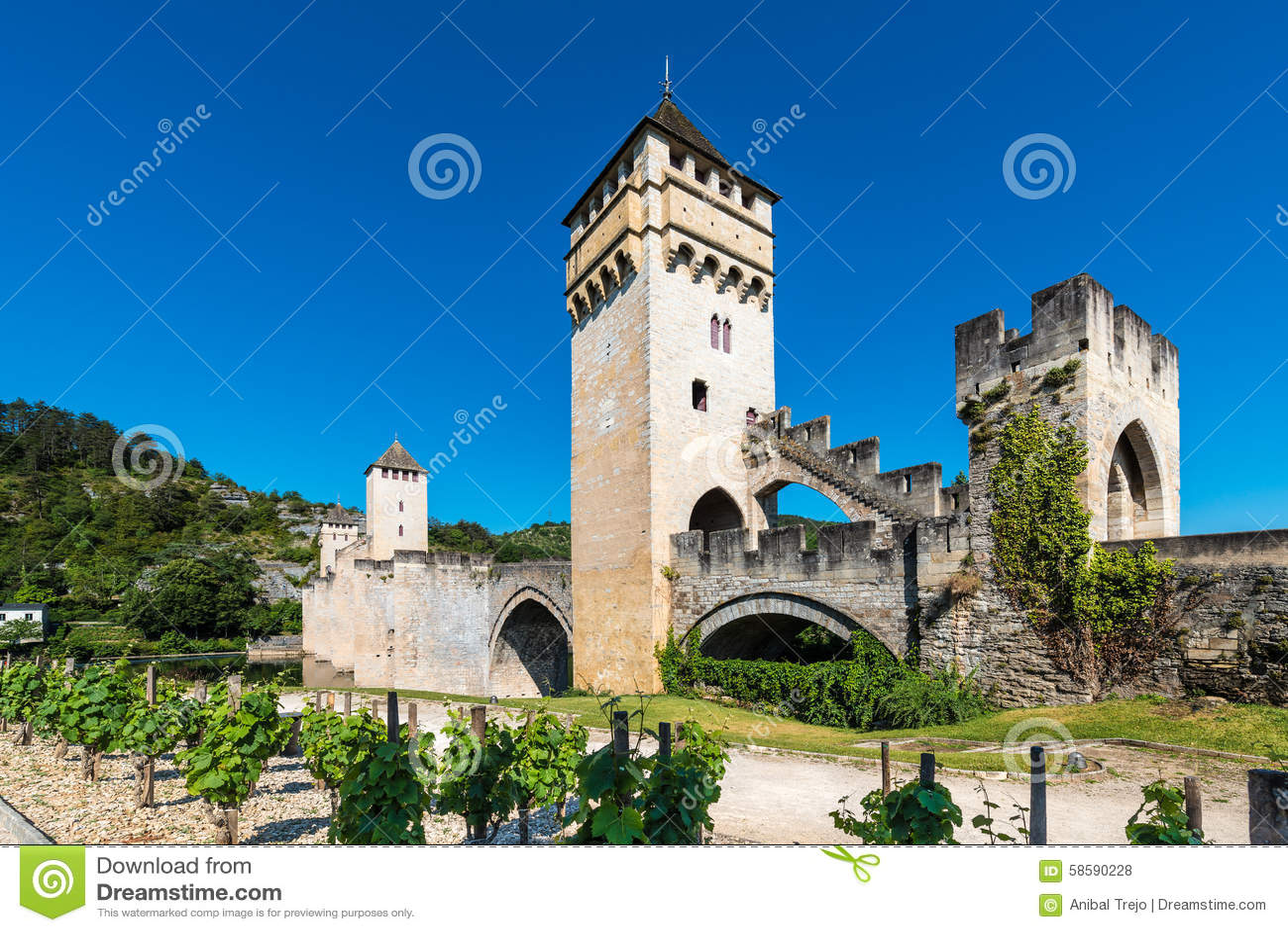 Pont Valentre in Cahors, Frankrijk