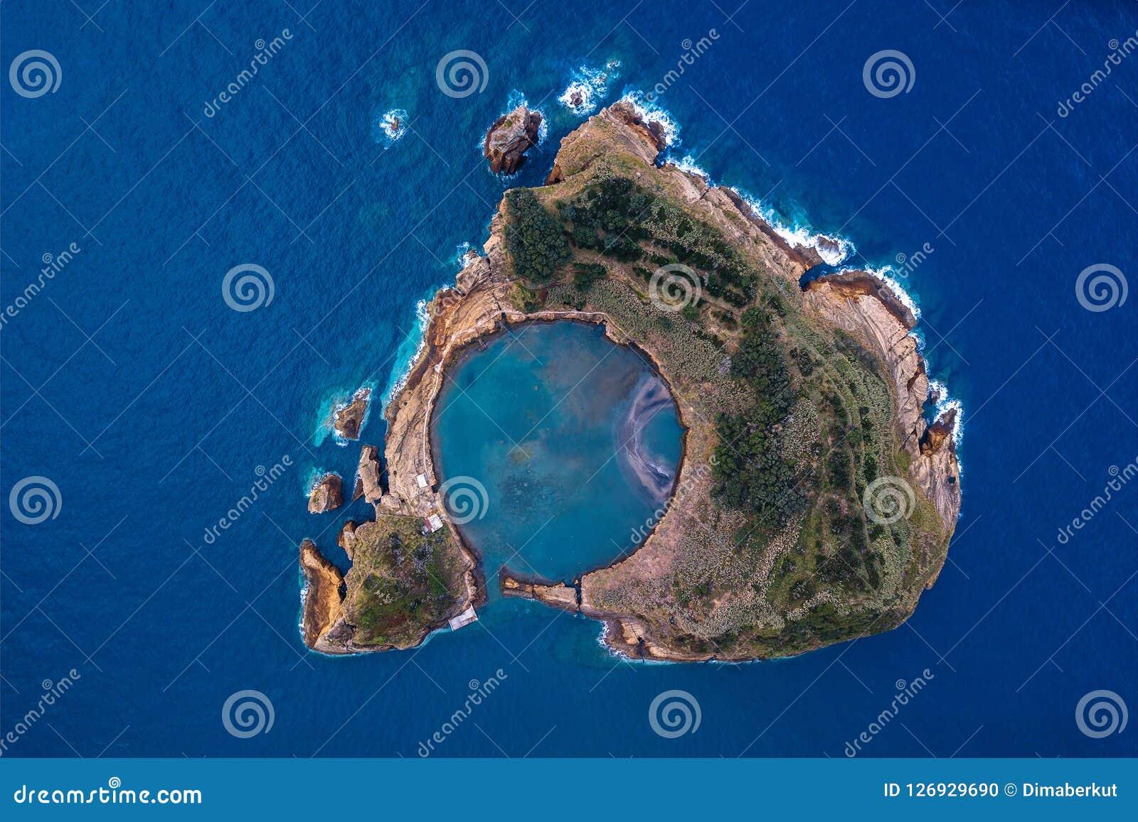 Ponta Delgada海岸的顶视图,圣米格尔火山海岛,亚速尔群岛