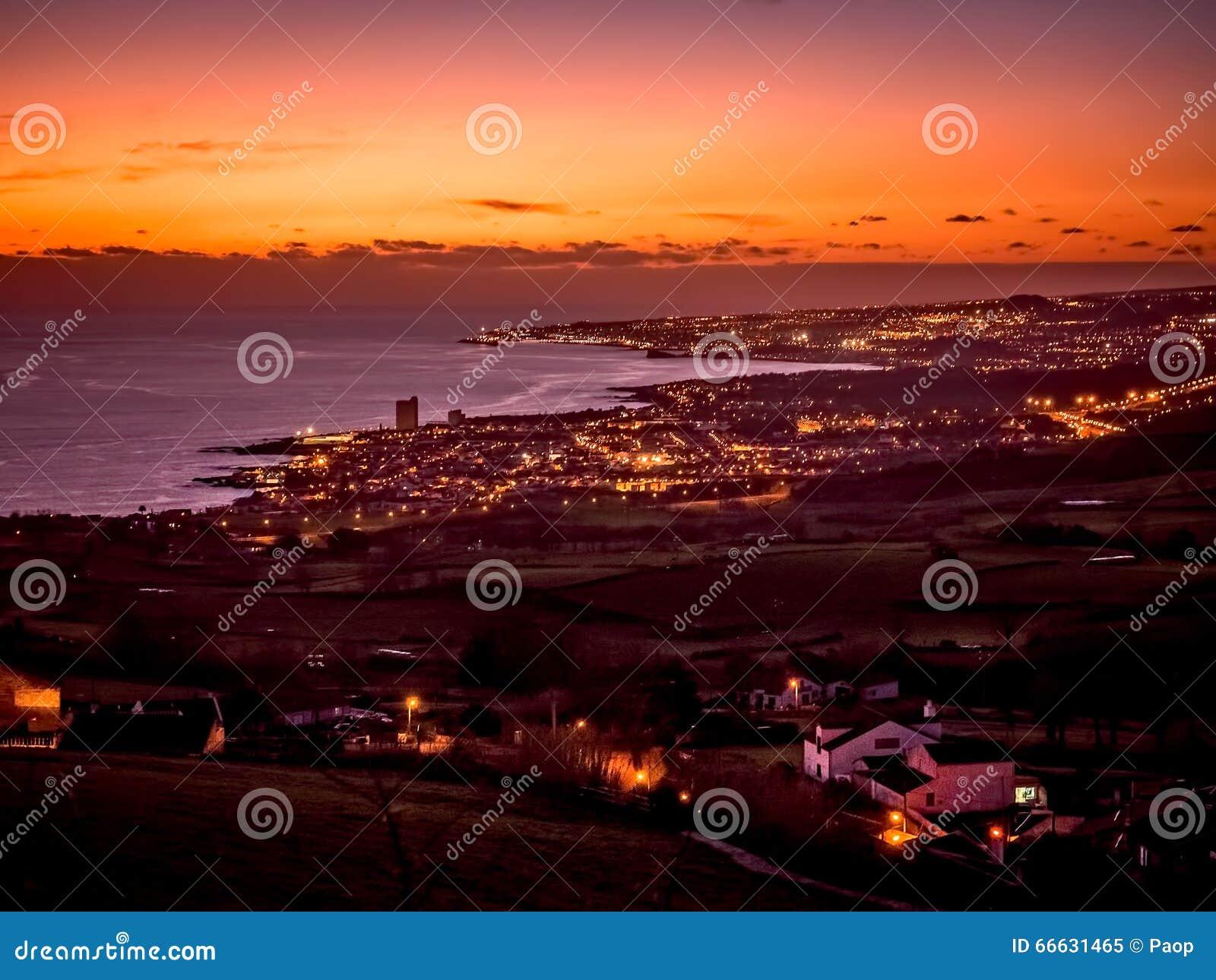 Ponta Delgada at sunset
