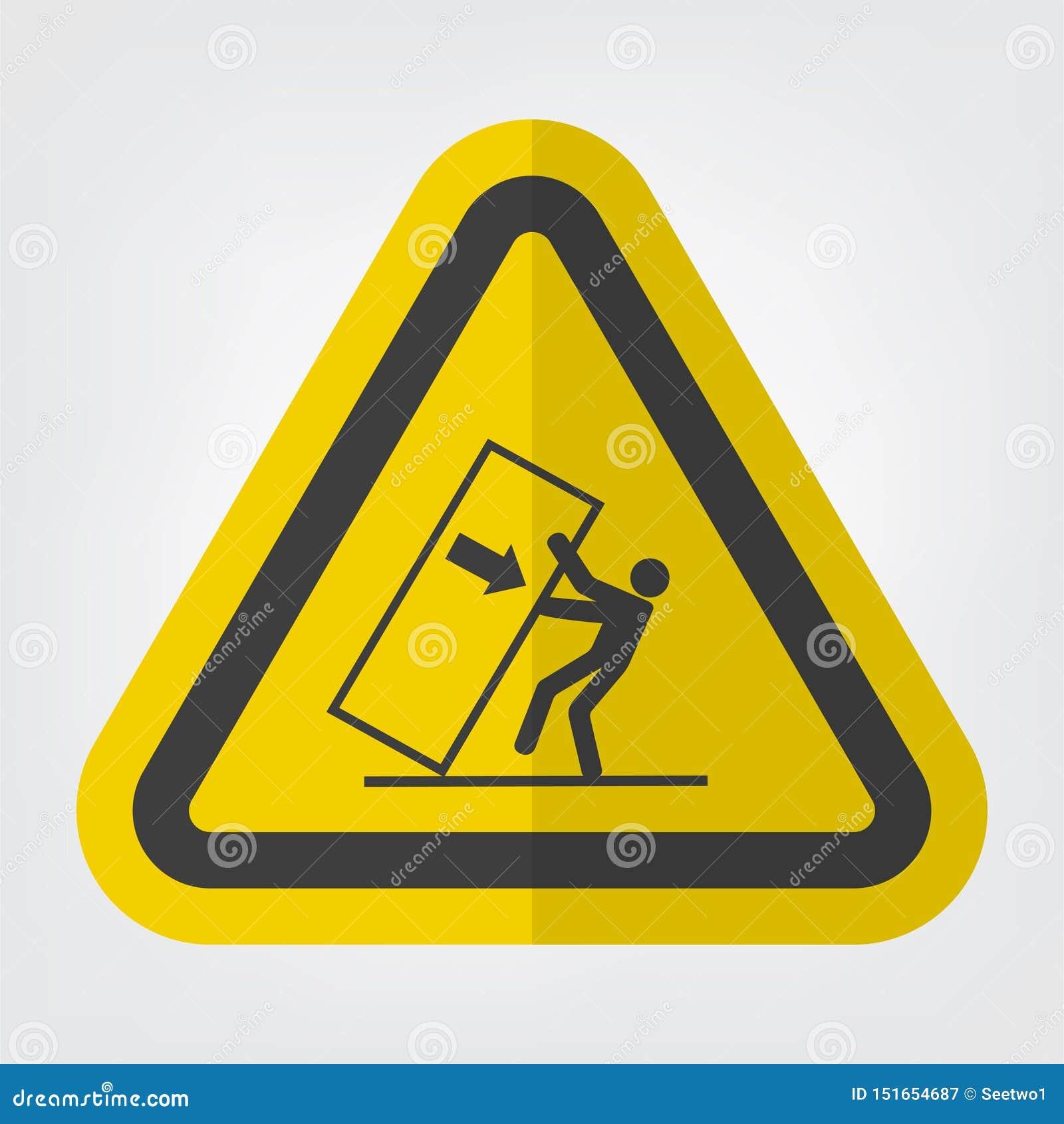 Ponta do esmagamento do corpo sobre o isolado do sinal do símbolo do perigo no fundo branco, ilustração EPS do vetor 10