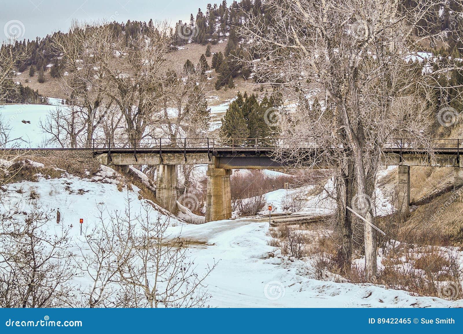 Ponte da estrada de ferro sobre uma ponte