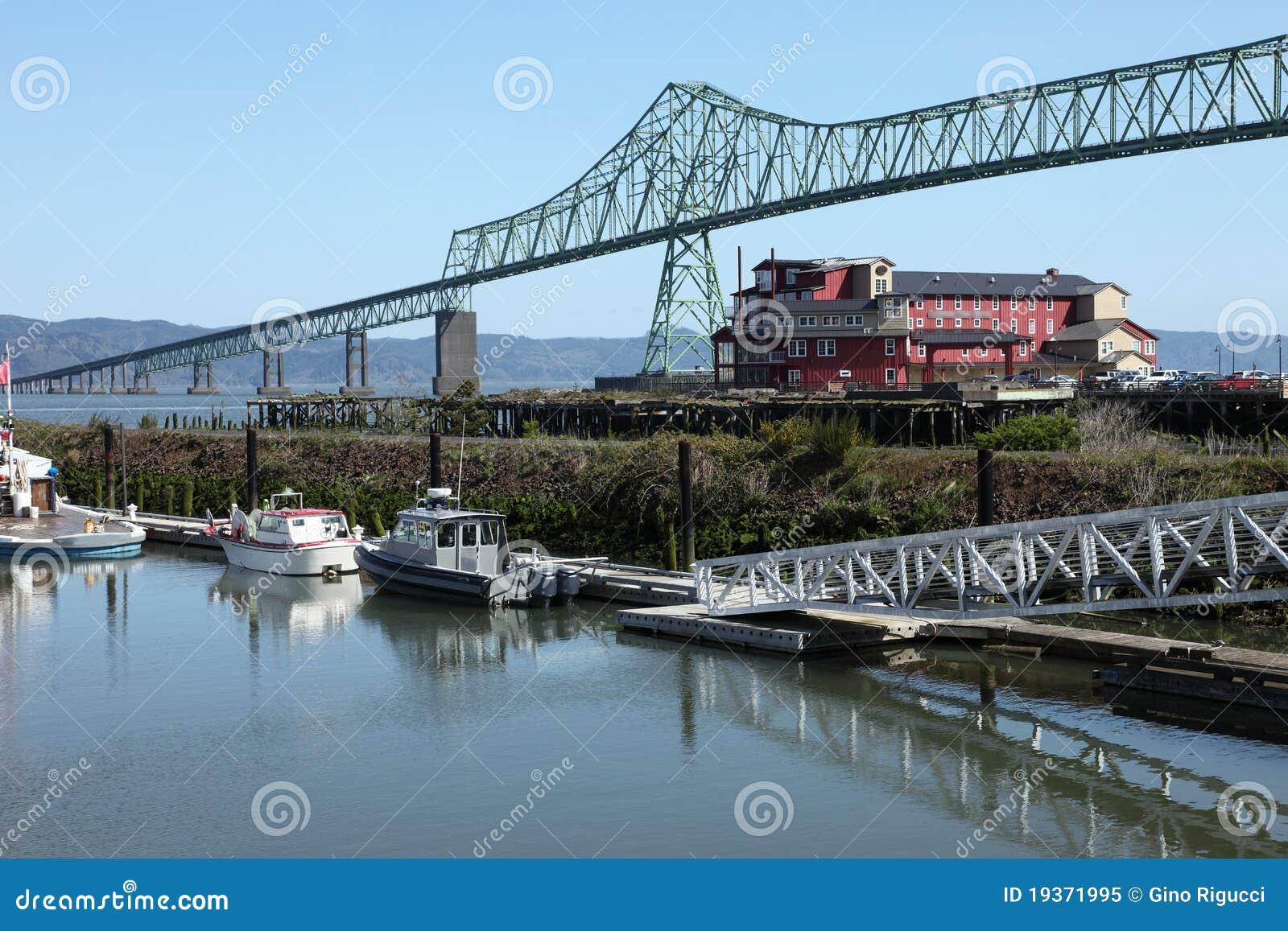 A ponte de Astoria & o hotel velho da fábrica de conservas.