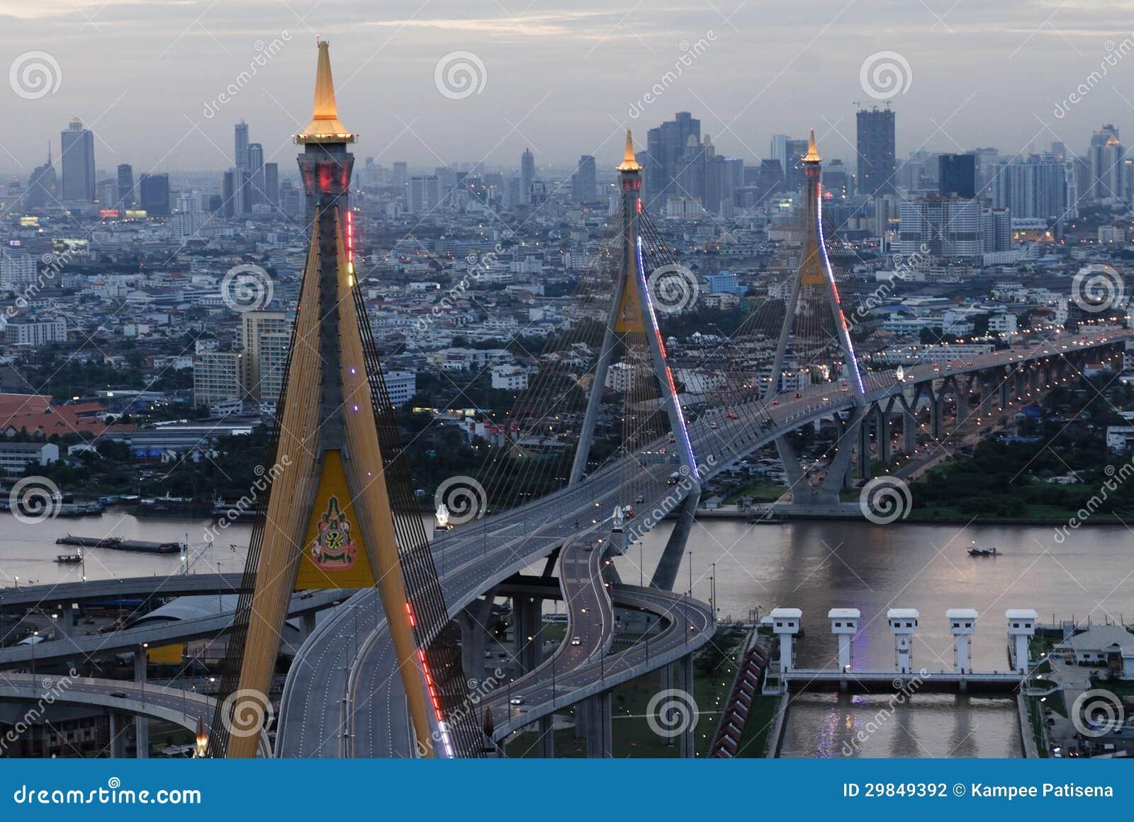 Ponte de Bhumibol em Tailândia